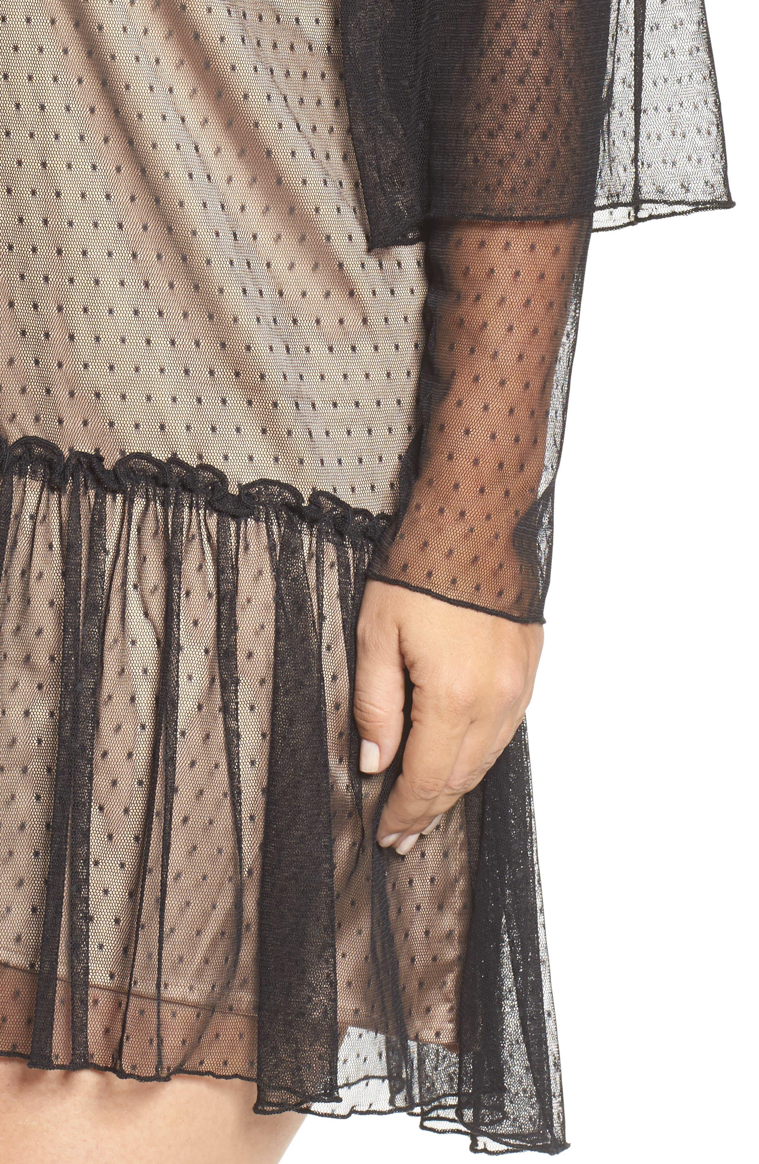 Polka Dot Net Shift Dress,                             Alternate thumbnail 4, color,                             Black
