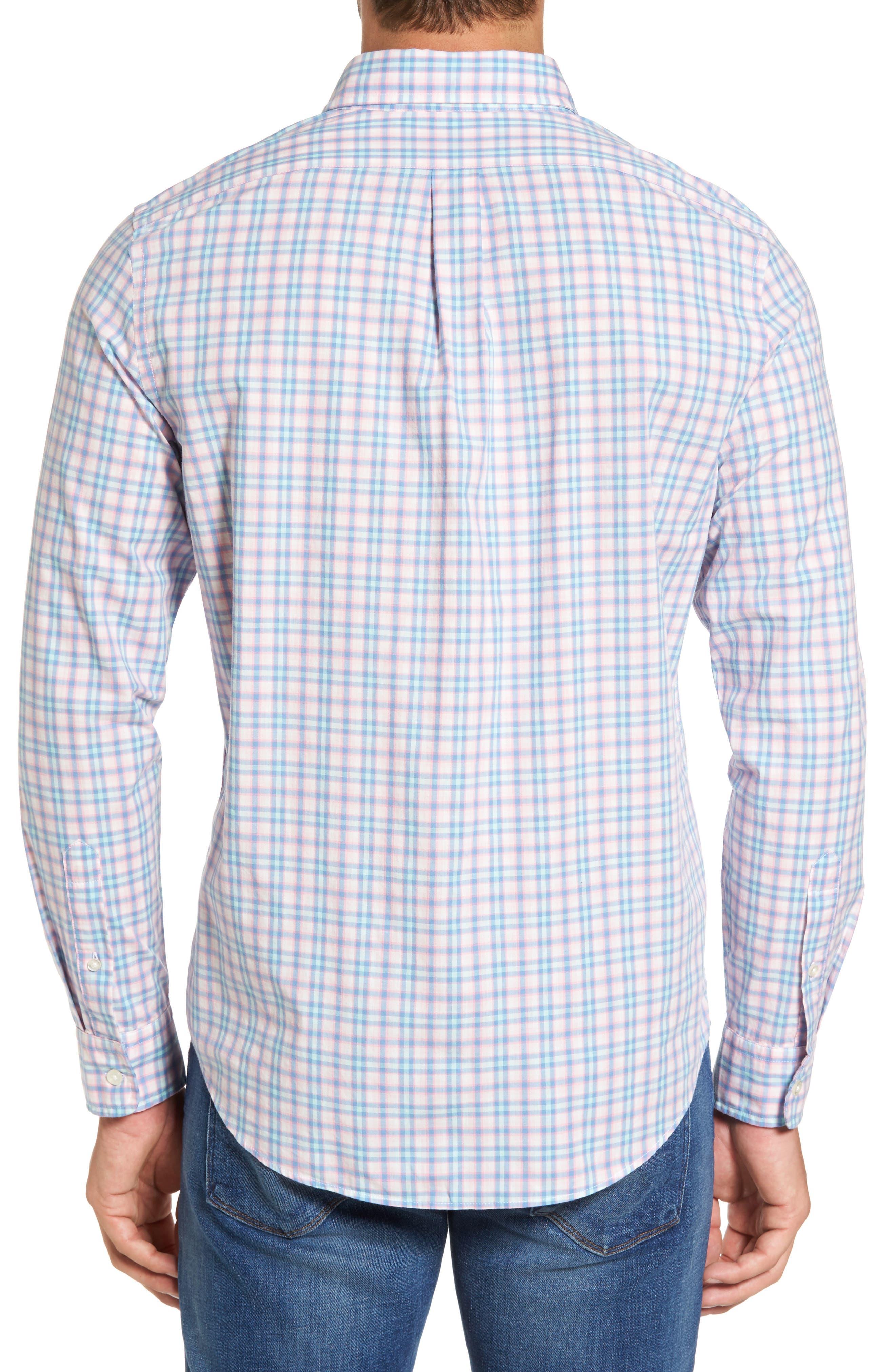 Hamlets Port Plaid Tucker Slim Fit Sport Shirt,                             Alternate thumbnail 2, color,                             Flamingo