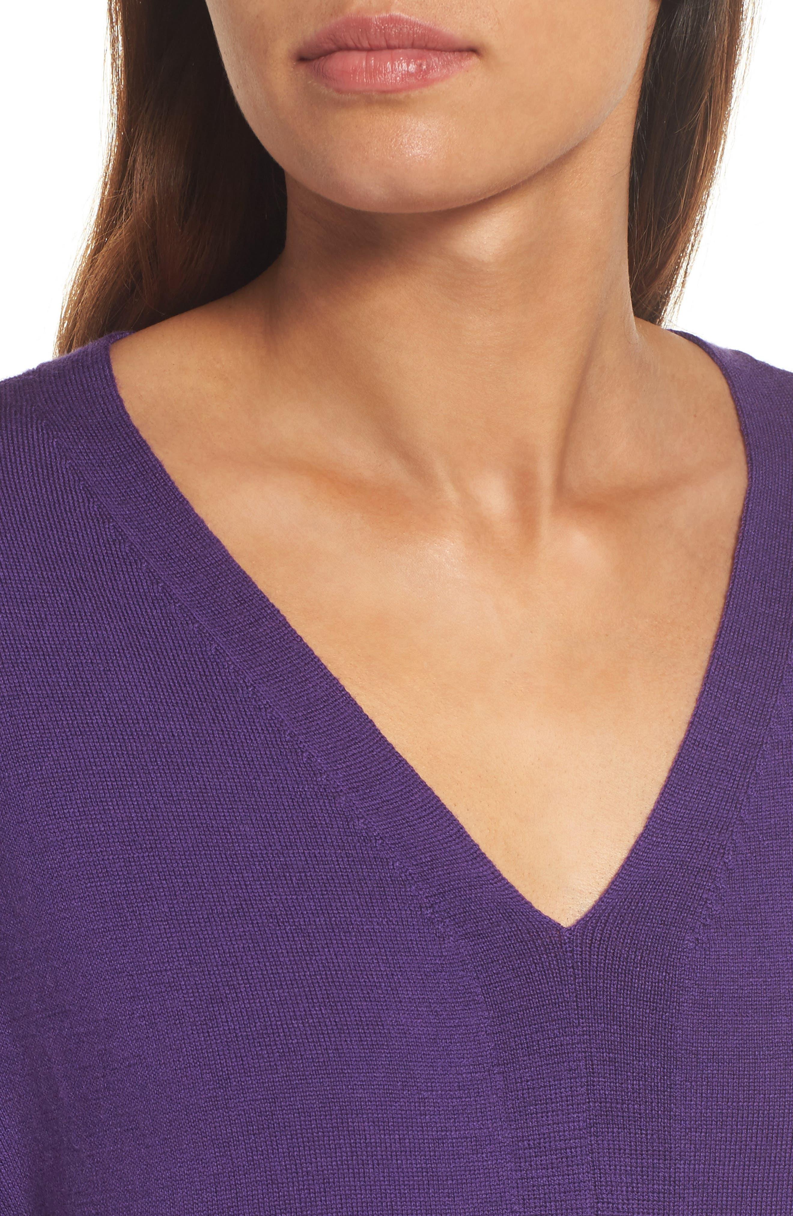 Merino Wool Tunic Sweater,                             Alternate thumbnail 4, color,                             Purple Rain
