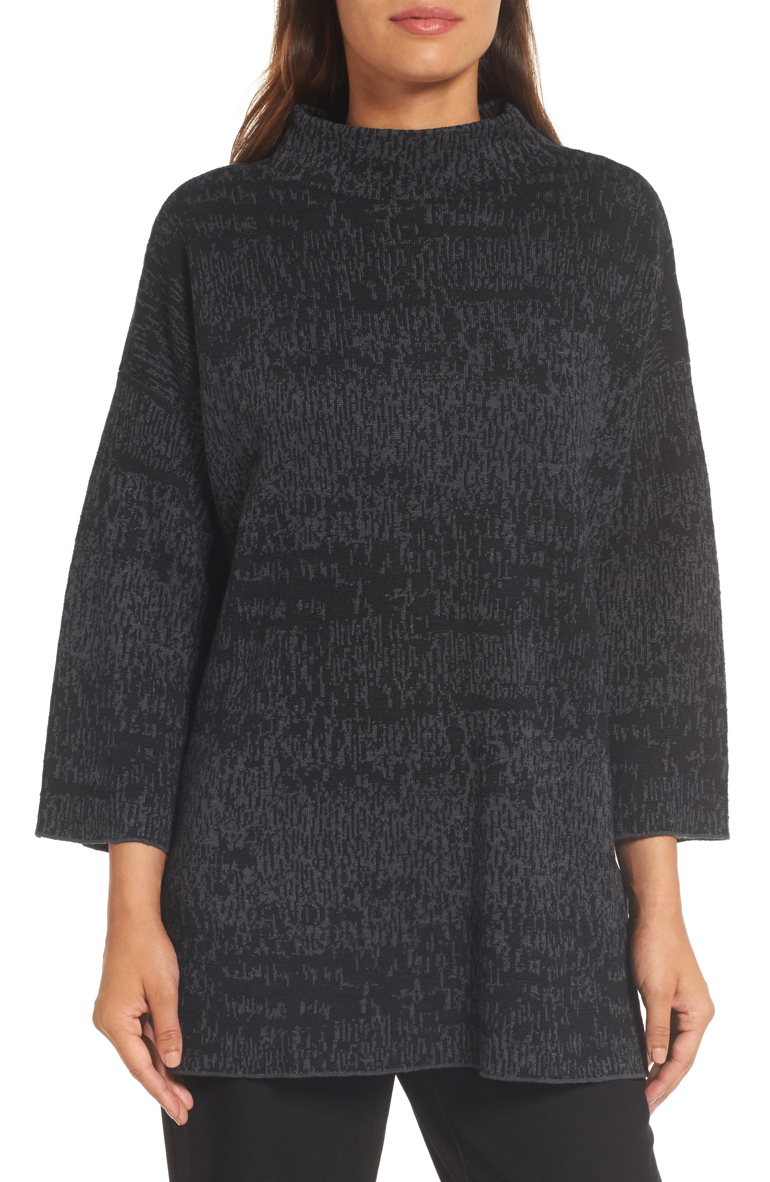 Funnel Neck Organic Linen Blend Sweater,                         Main,                         color, Charcoal