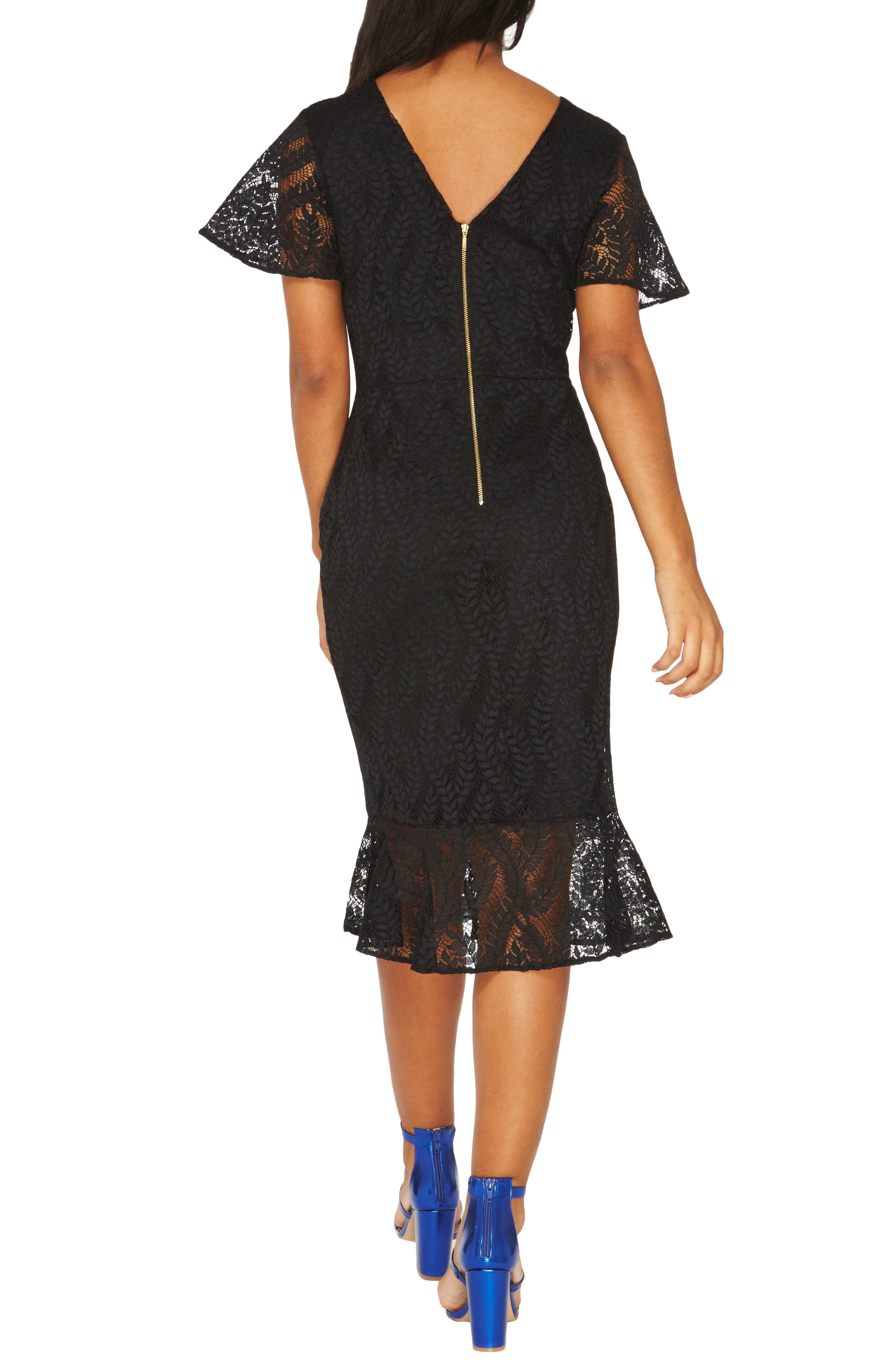 Lace Body-Con Dress,                             Alternate thumbnail 2, color,                             Black