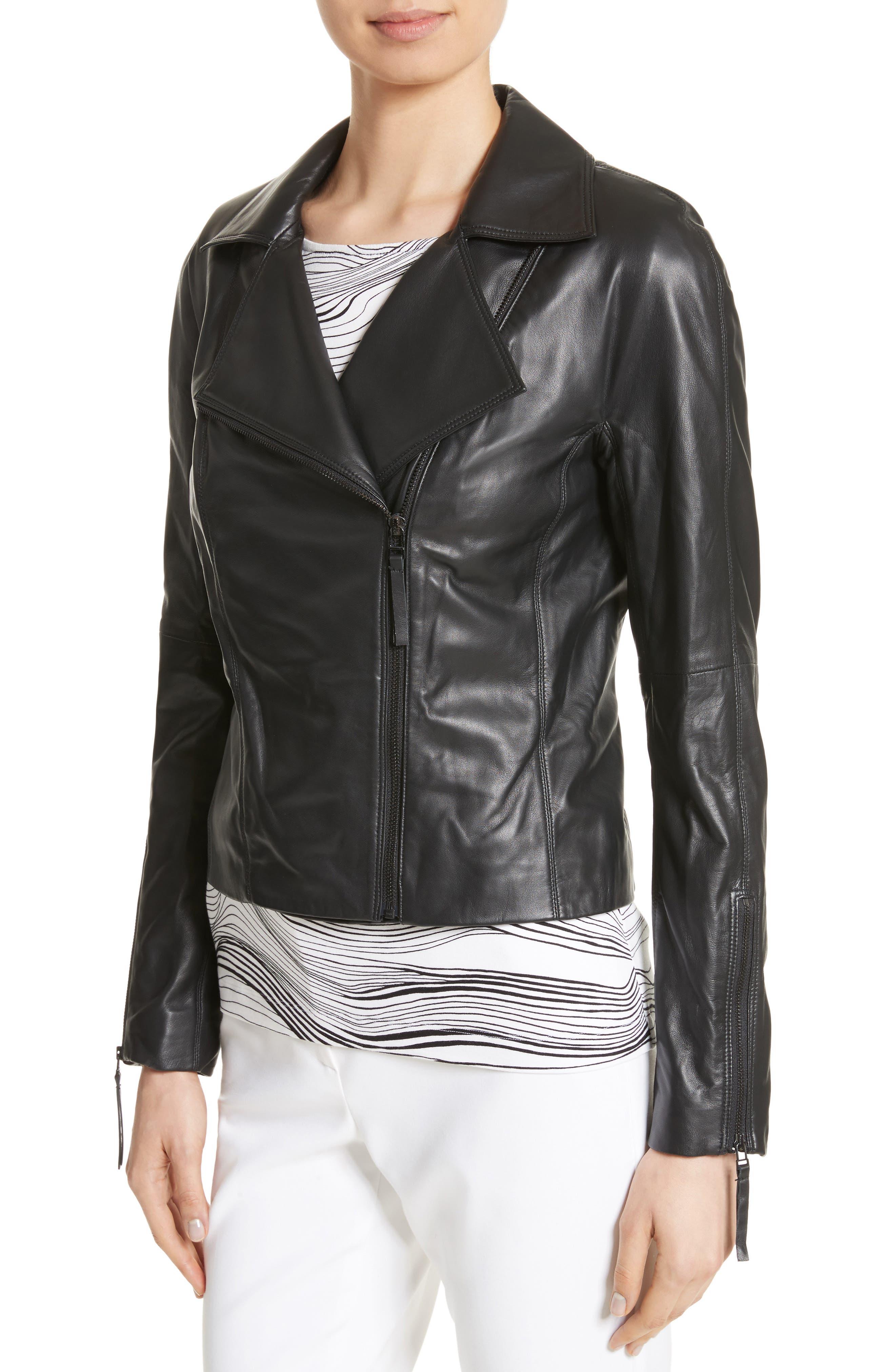 Nappa Leather Moto Jacket,                             Alternate thumbnail 3, color,                             Caviar