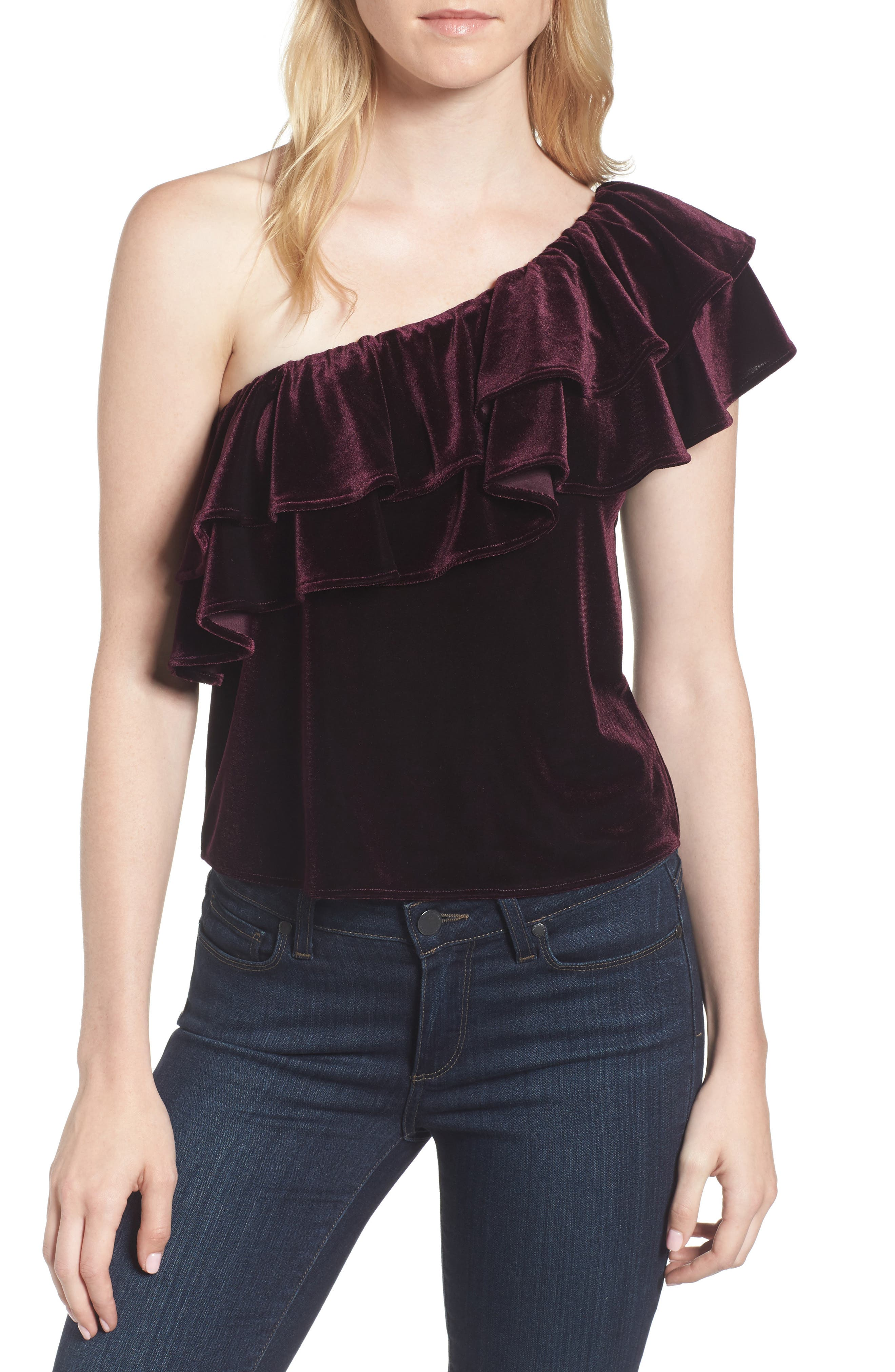 Agus One-Shoulder Velvet Top,                             Main thumbnail 1, color,                             Plum Velvet