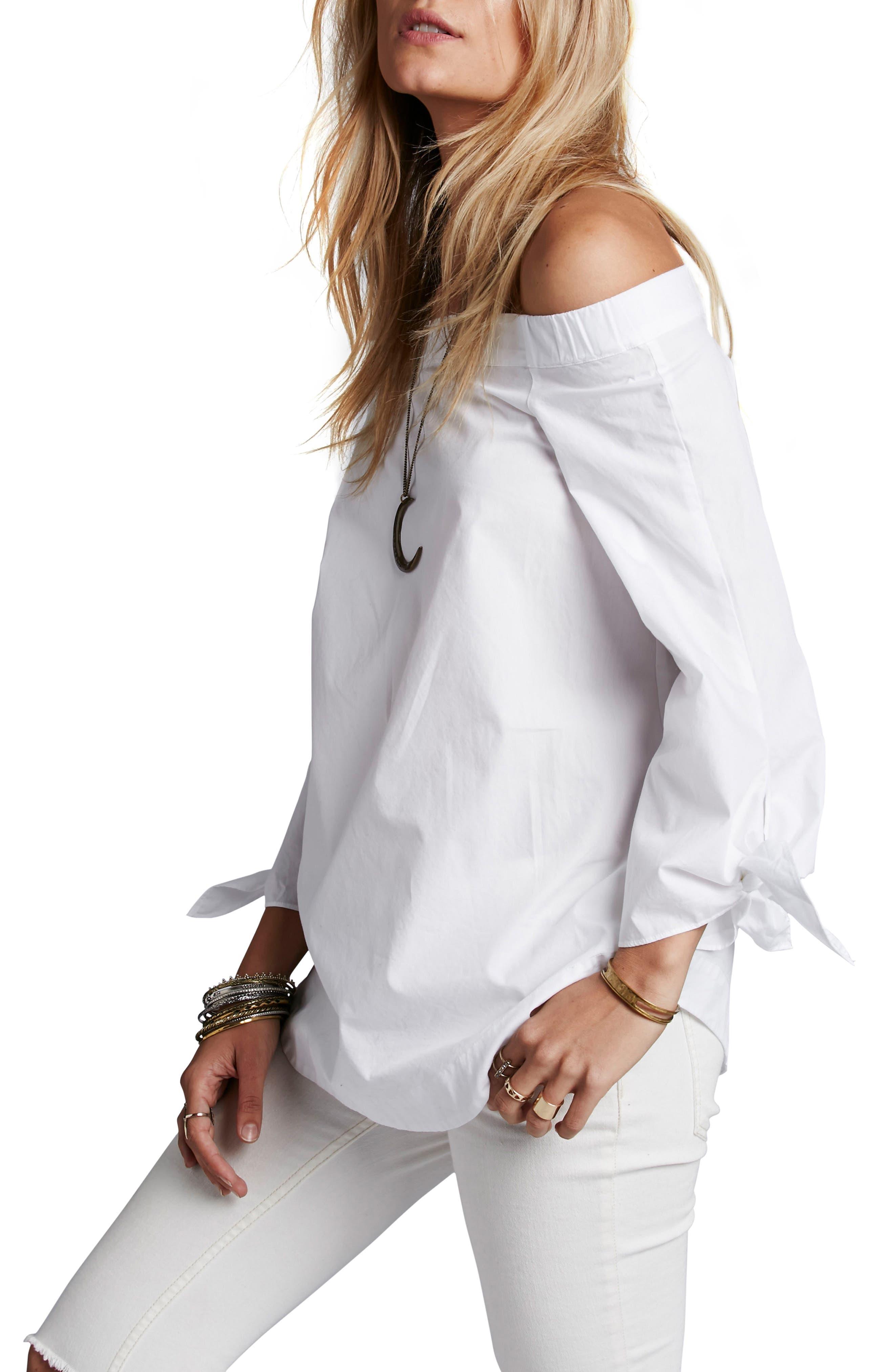 'Show Me Some Shoulder' Off the Shoulder Cotton Blouse,                         Main,                         color, White