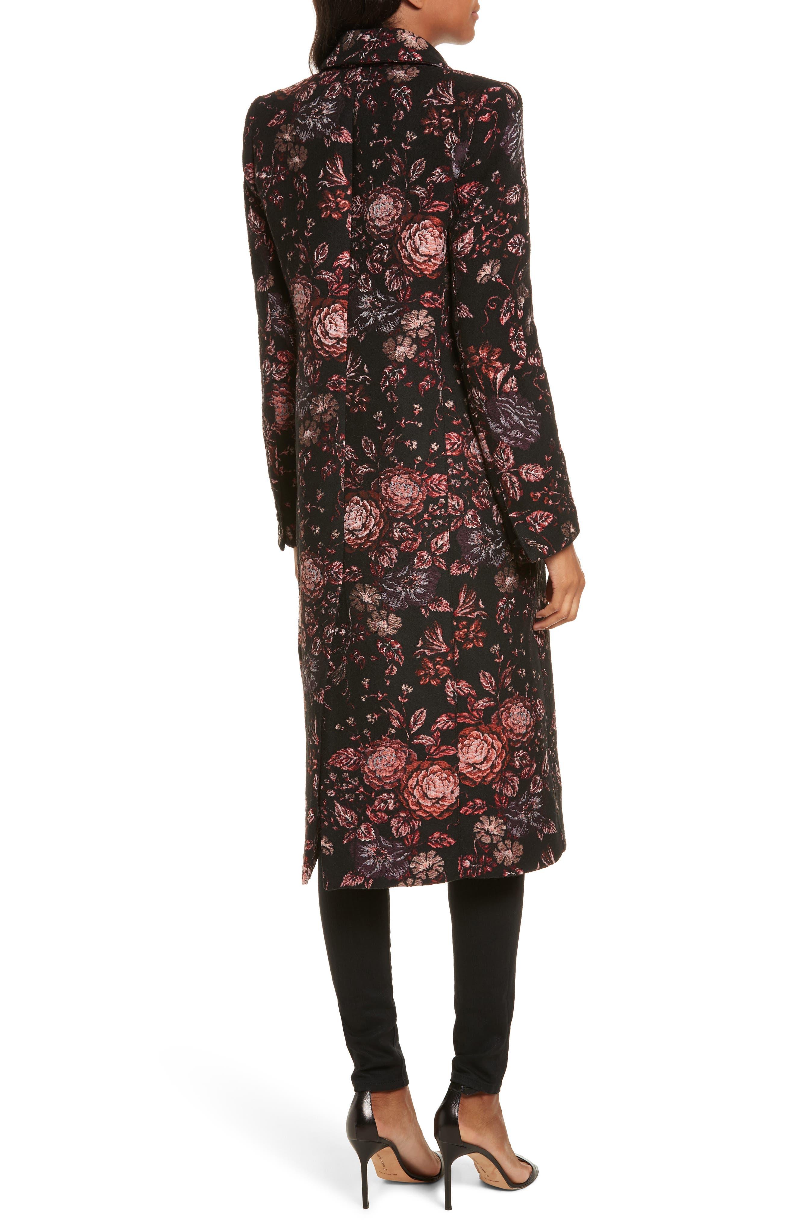 Floral Jacquard Peaked Lapel Coat,                             Alternate thumbnail 2, color,                             Tapestry