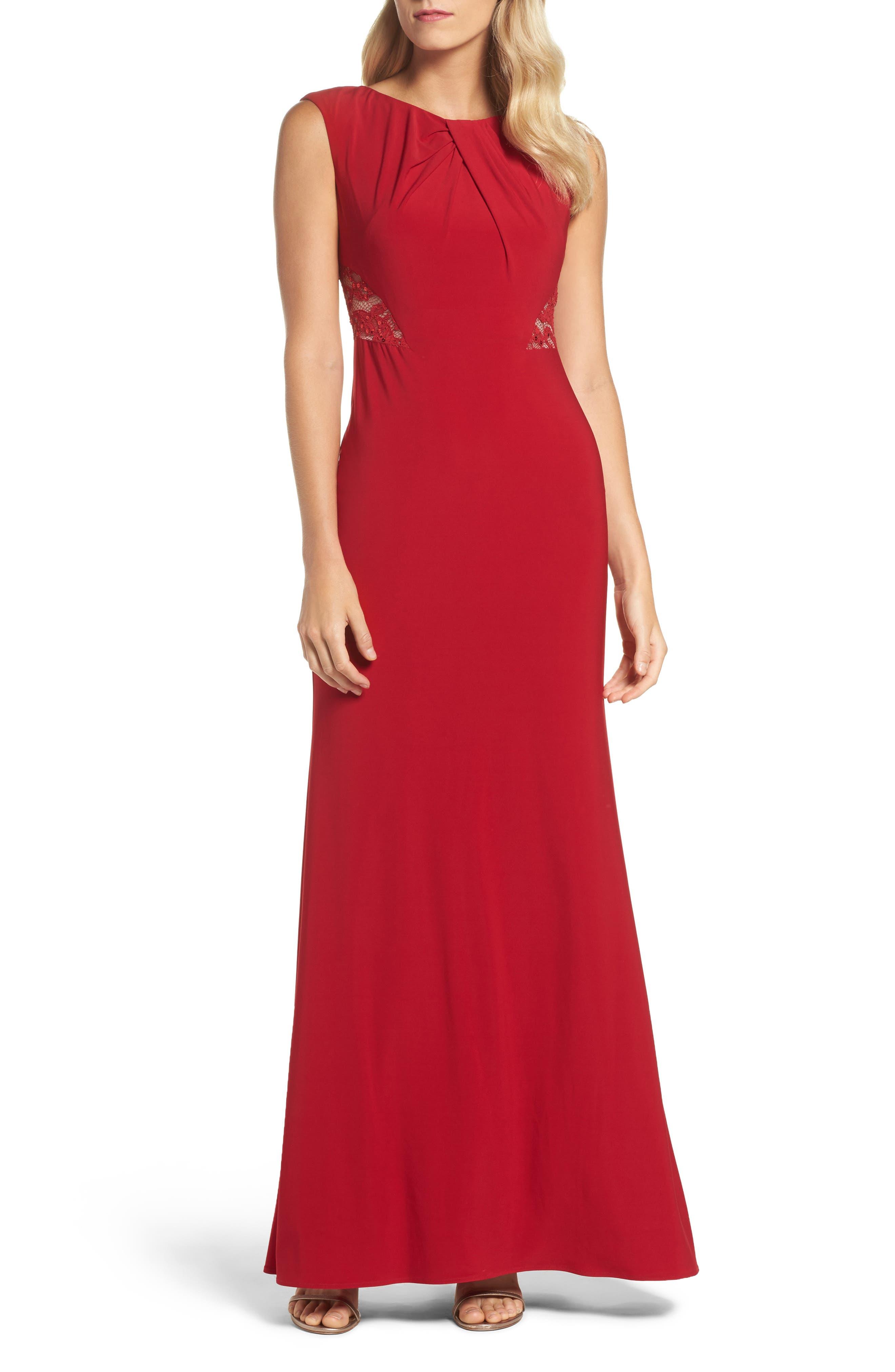 Lace Cutout Mermaid Gown,                         Main,                         color, Cardinal