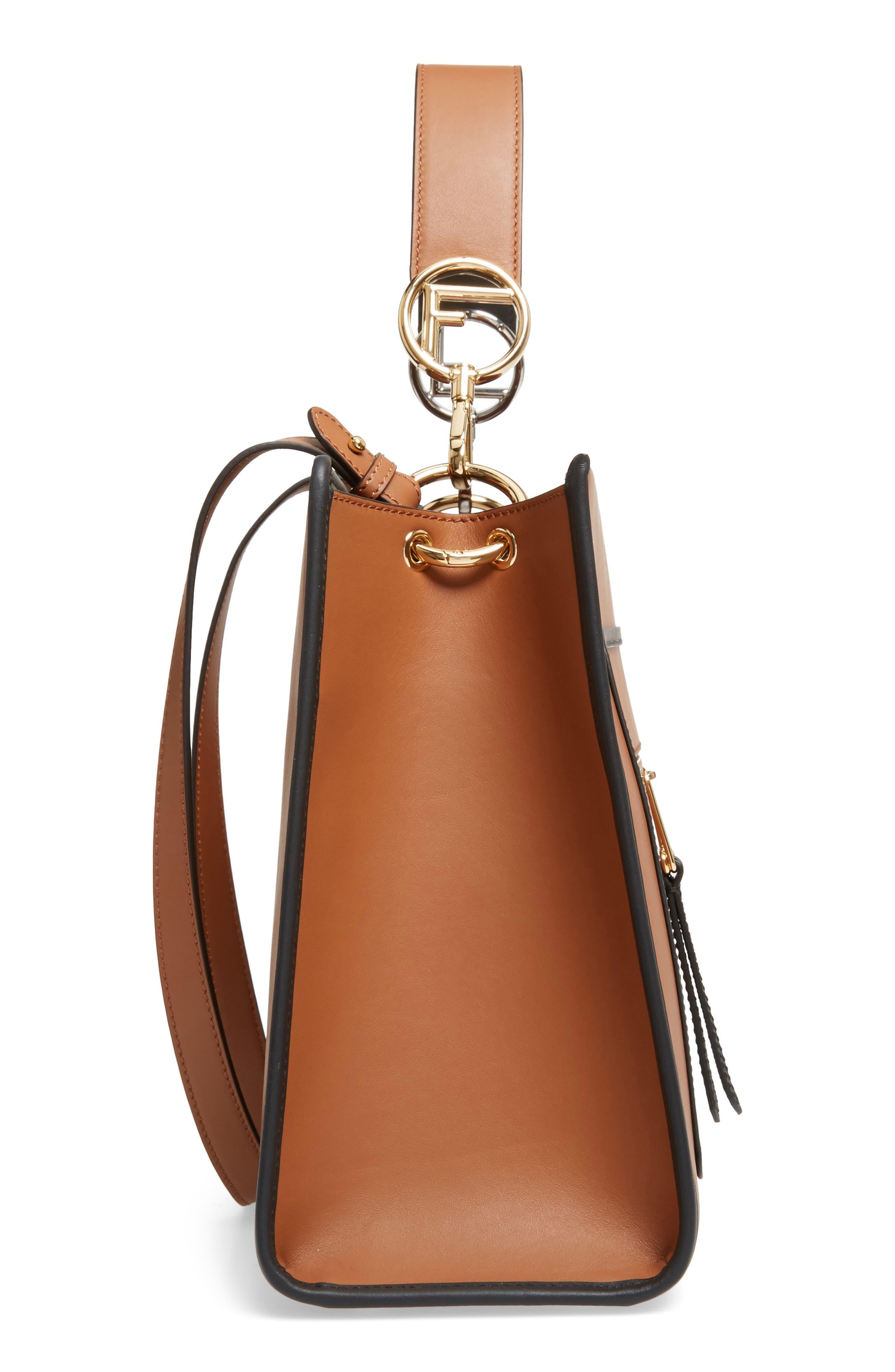 Runaway Medium Leather Tote Bag,                             Alternate thumbnail 5, color,                             Brown