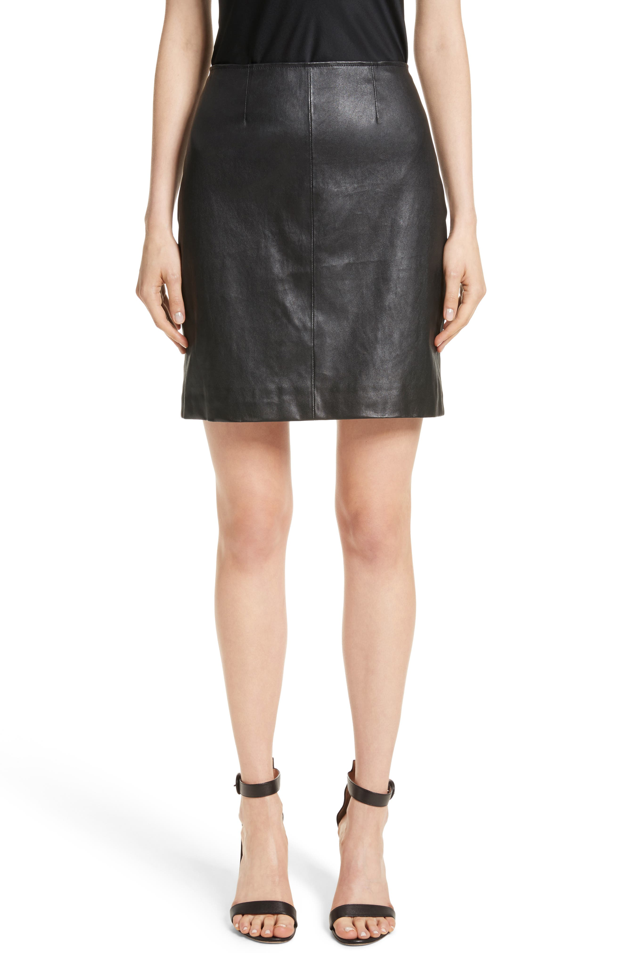 Stretch Nappa Leather Skirt,                             Main thumbnail 1, color,                             Caviar