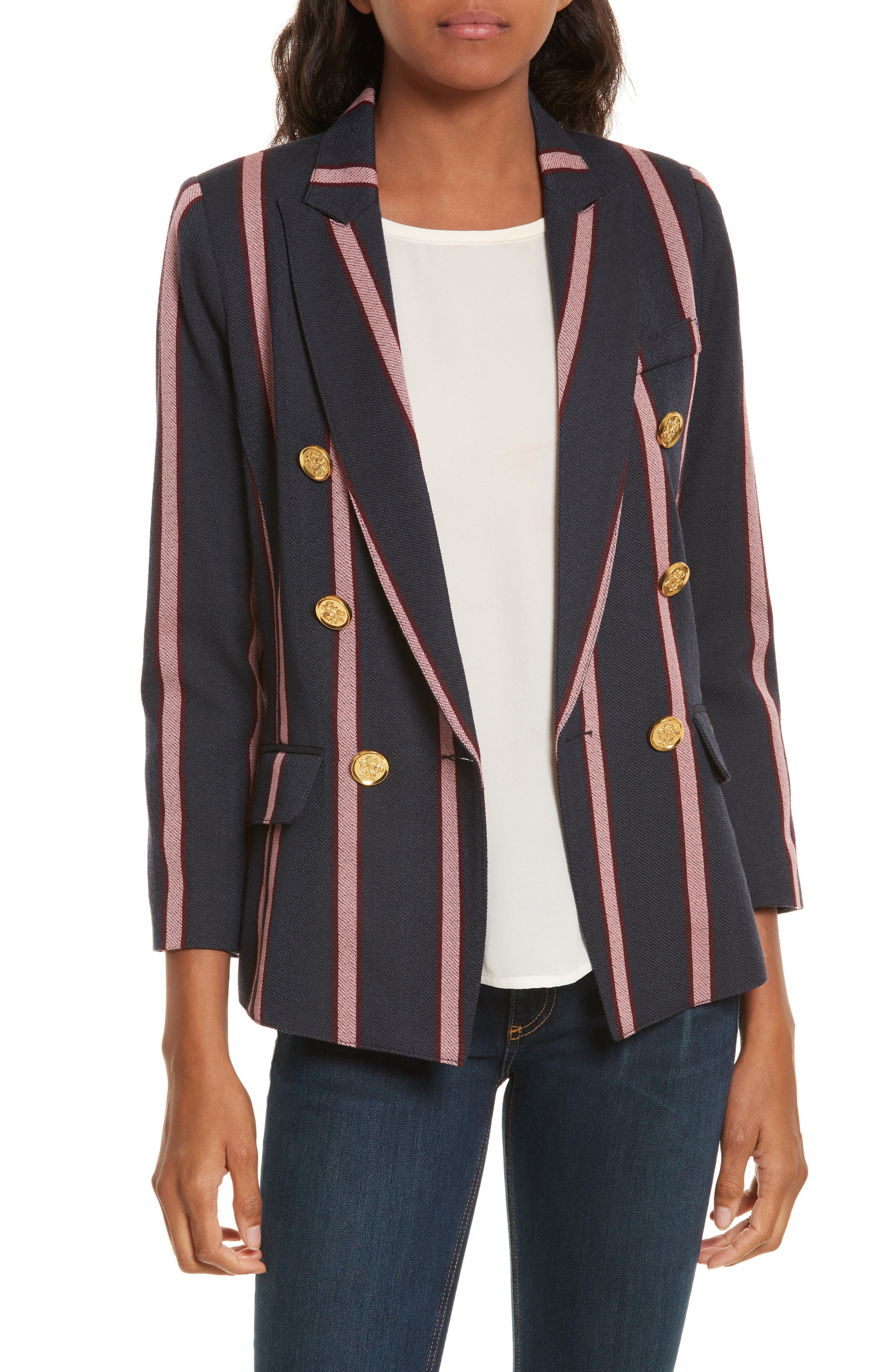 Mini Double Breasted Blazer,                         Main,                         color, Navy/ Pink
