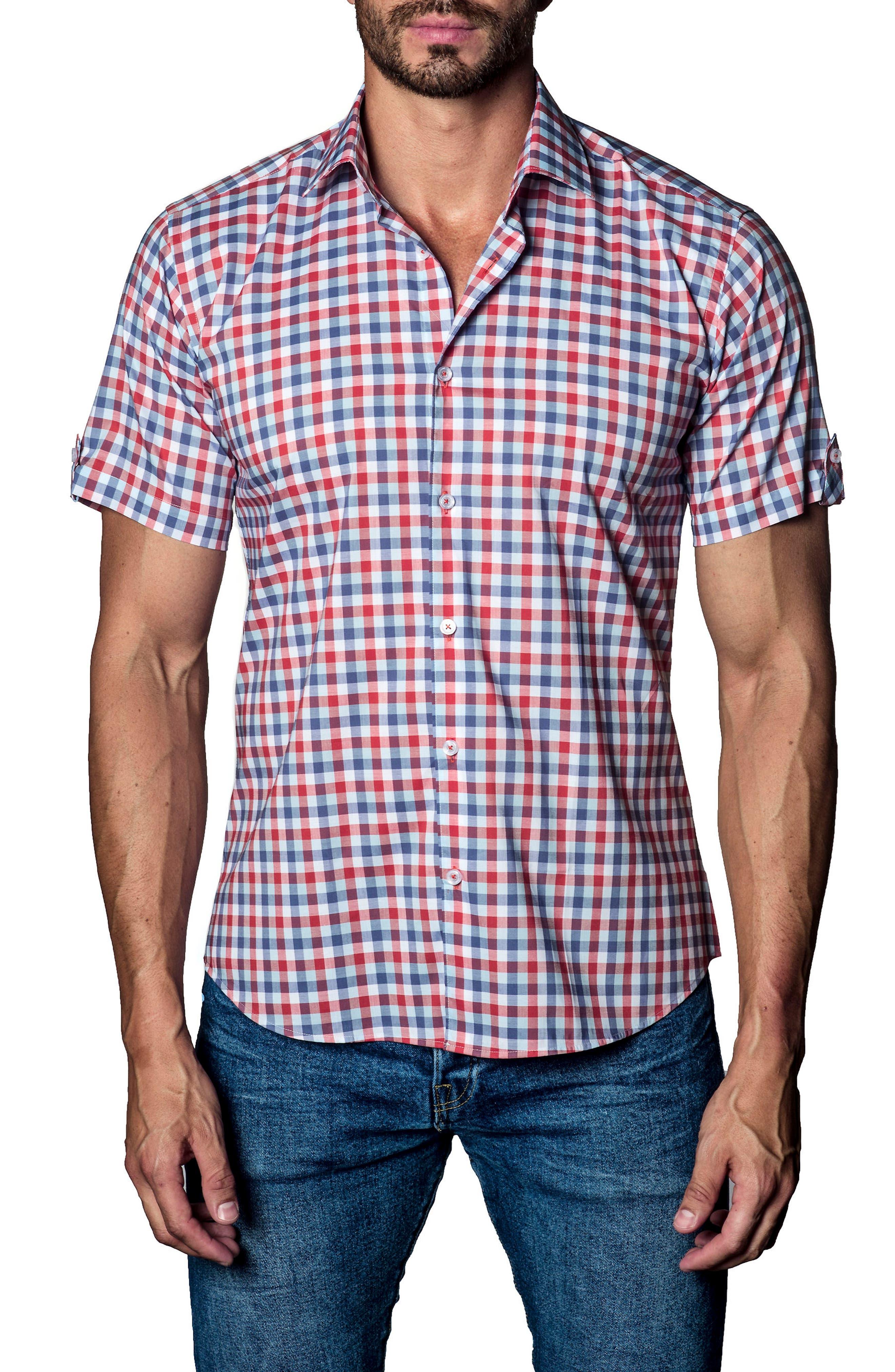 Check Sport Shirt,                             Main thumbnail 1, color,                             White Orange Plaid