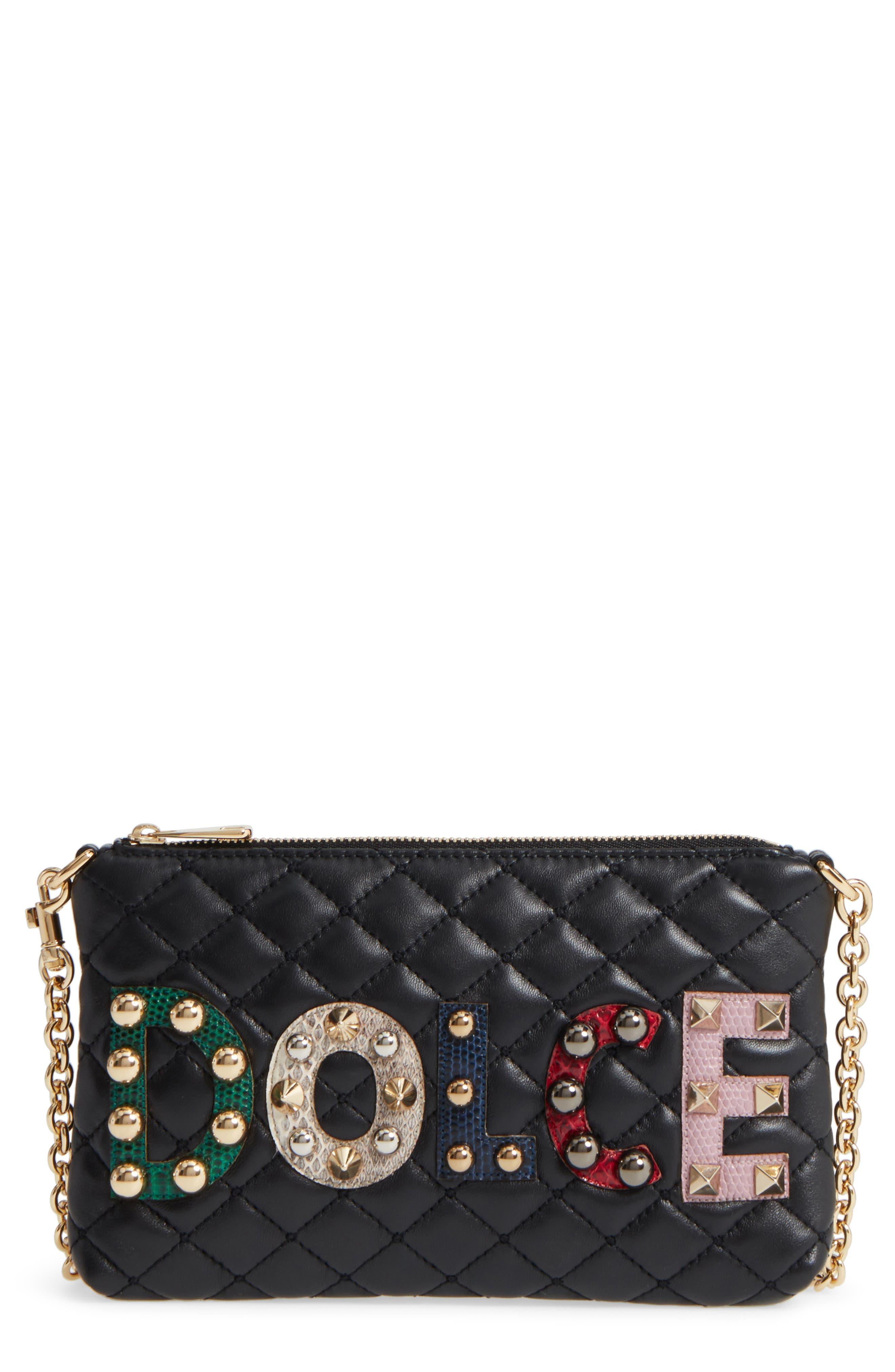 Dolce&Gabbana Studded Logo Patch Leather and Genuine Snakeskin Bag