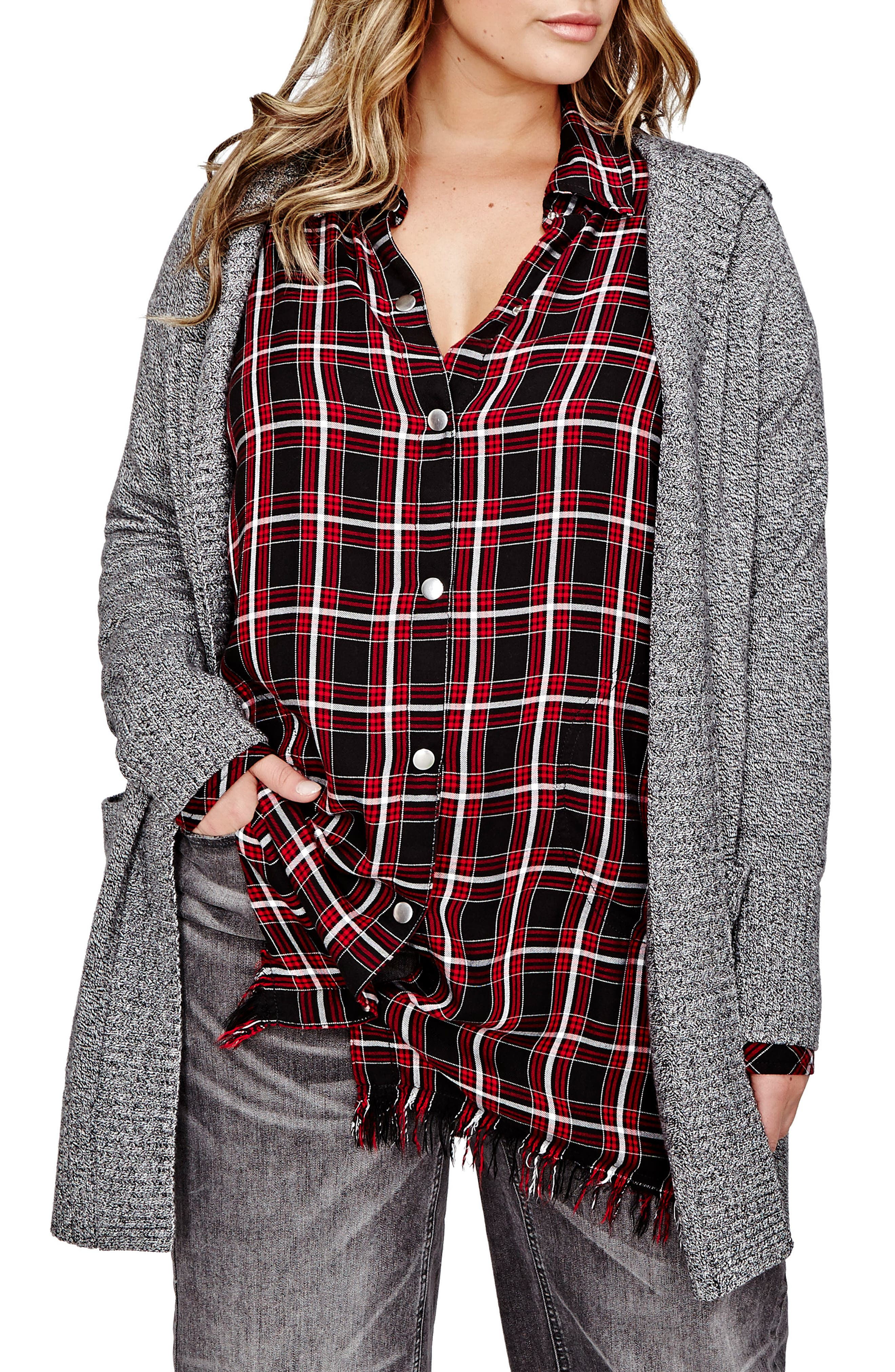 ADDITION ELLE LOVE AND LEGEND Hooded Open Cardigan (Plus Size)