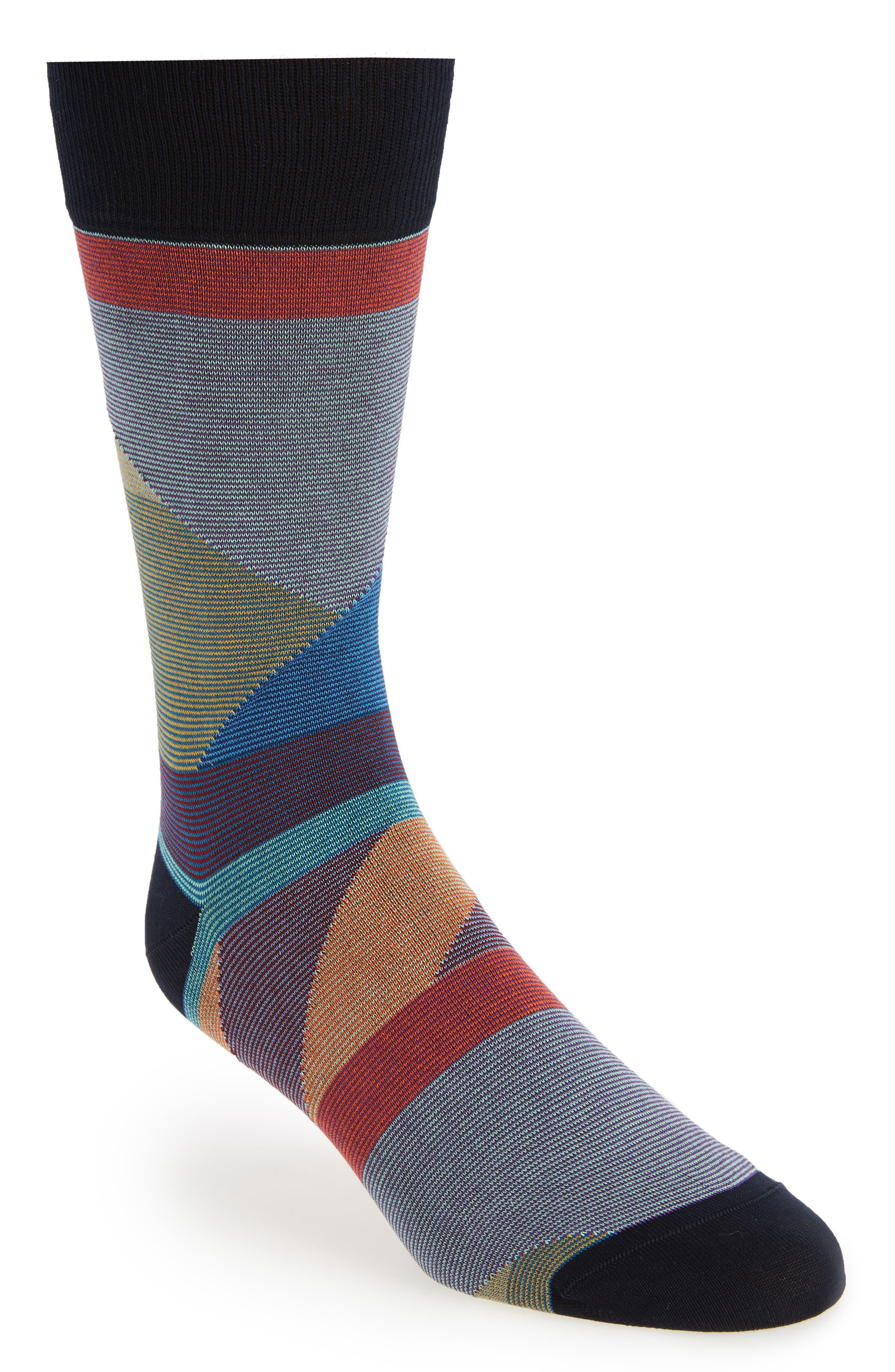Geometric Crew Socks,                         Main,                         color, Blue