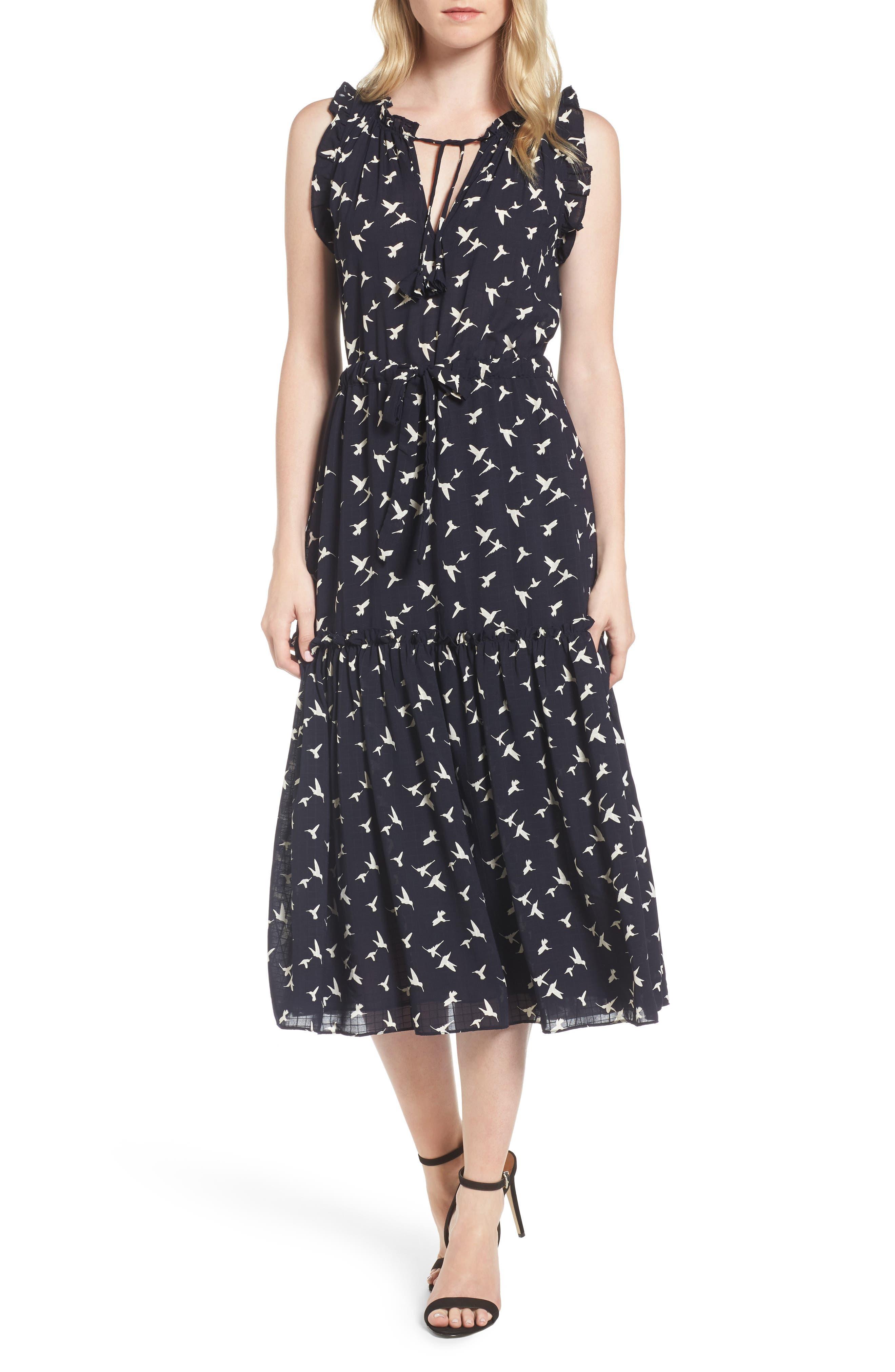 Martina Midi Dress,                         Main,                         color, Navy/ Ivory