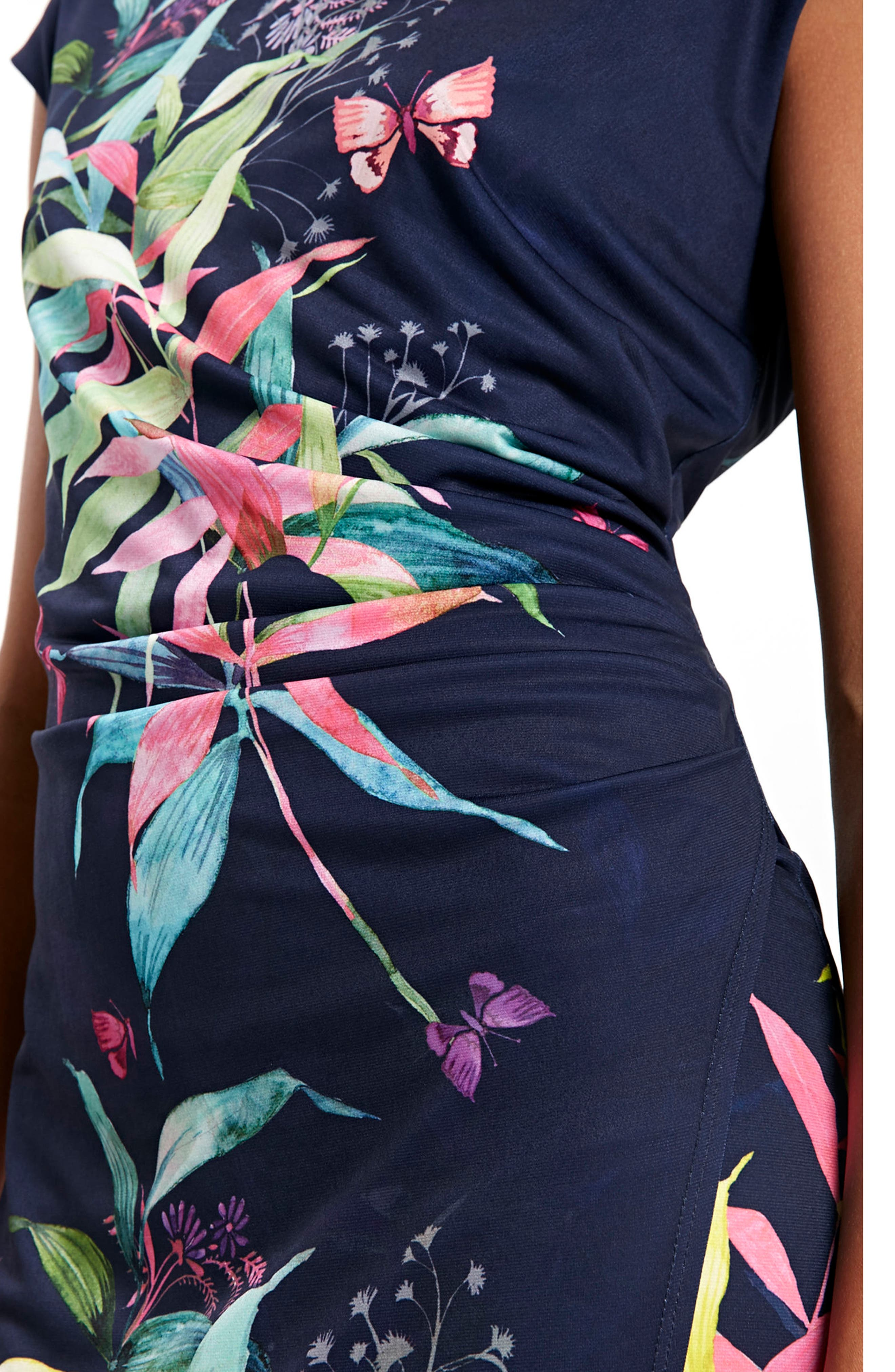 Midnight Blossom Faux Wrap Dress,                             Alternate thumbnail 4, color,                             Ink