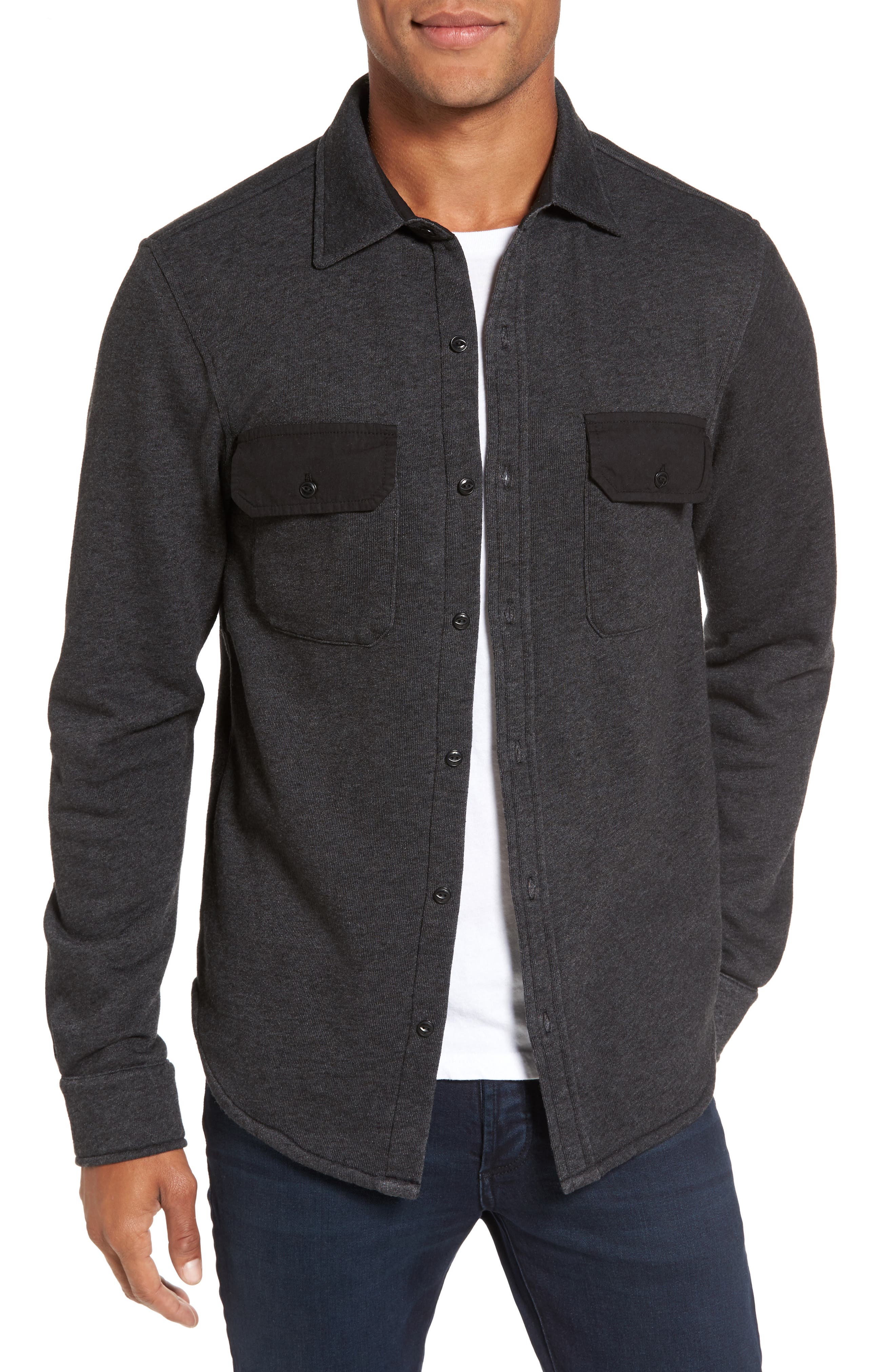 Shirt Jacket,                         Main,                         color, Black