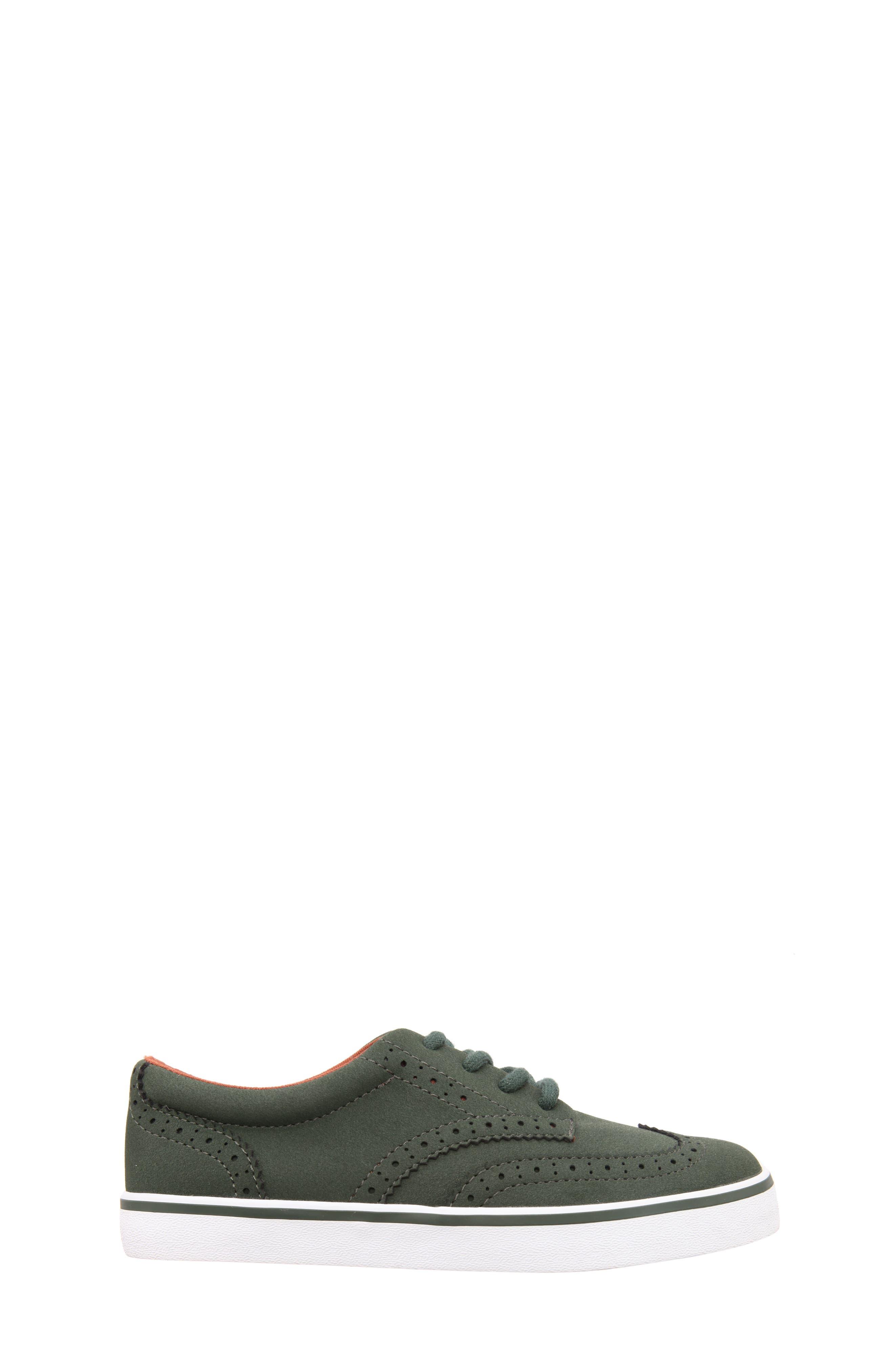 Wingtip Sneaker,                             Alternate thumbnail 3, color,                             Olive Faux Suede