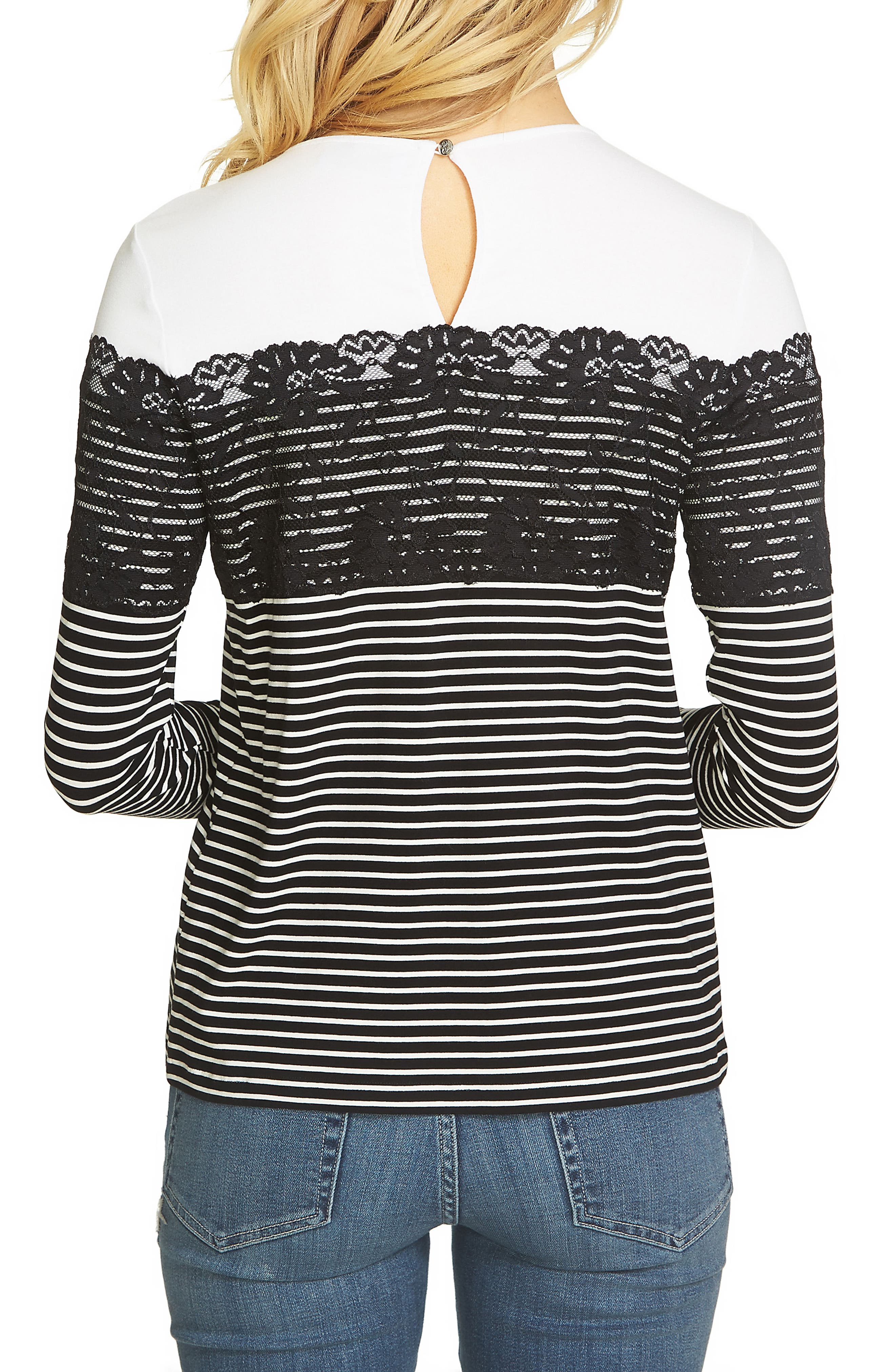 Lacy Striped Top,                             Alternate thumbnail 2, color,                             Rich Black