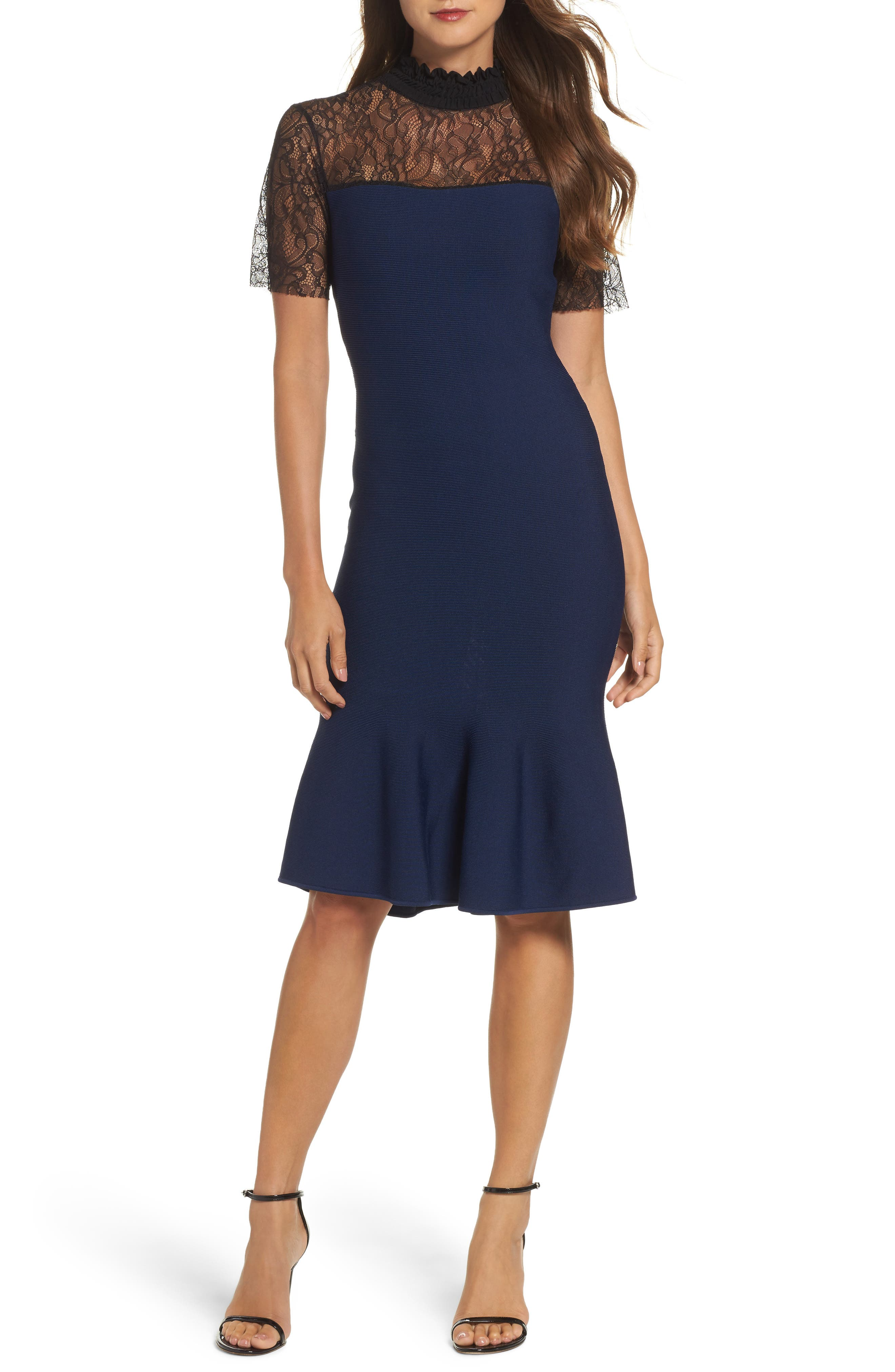 Deena Fit & Flare Dress,                         Main,                         color, Navy