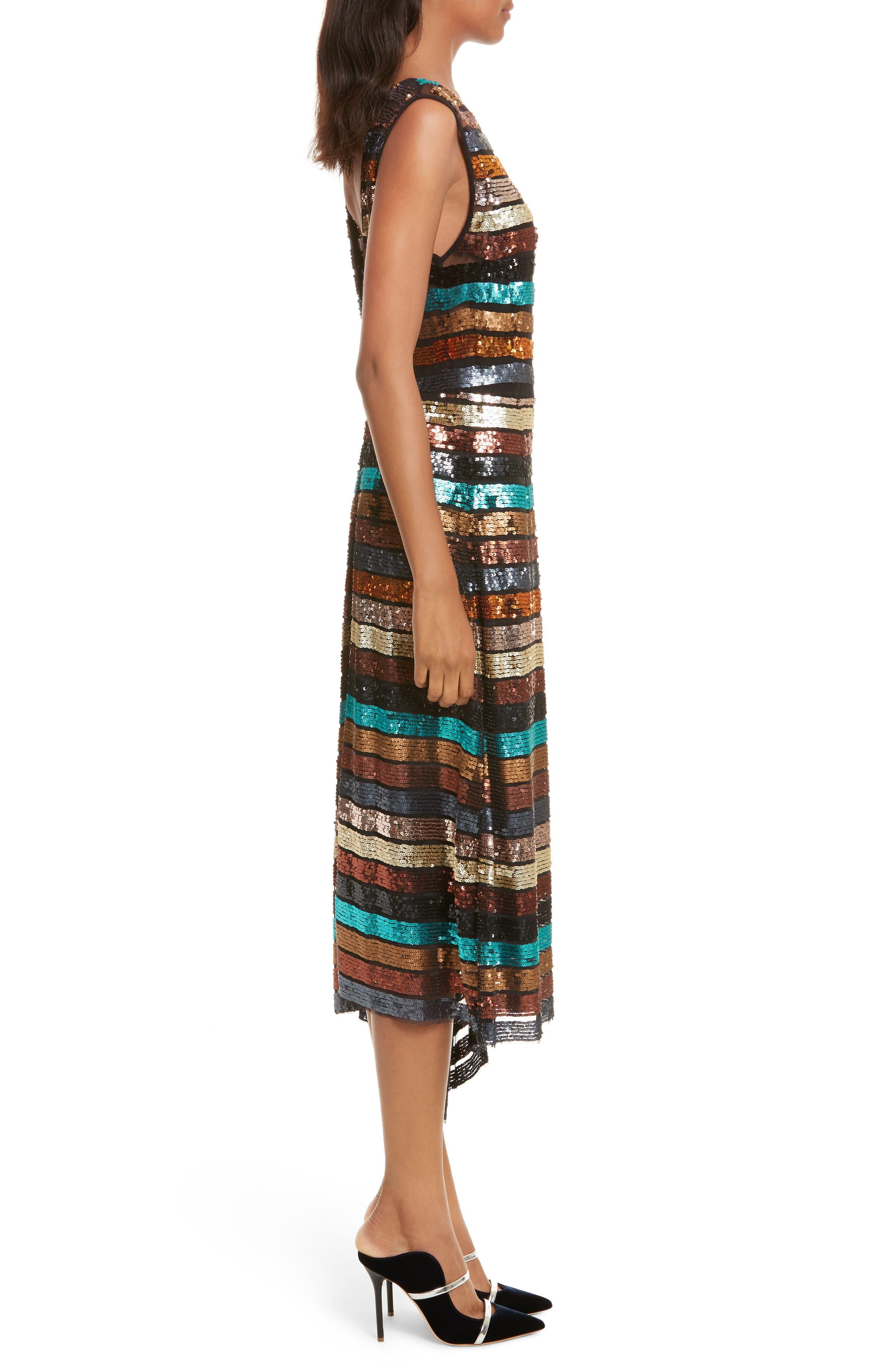 Flange Midi Dress,                             Alternate thumbnail 3, color,                             Multi