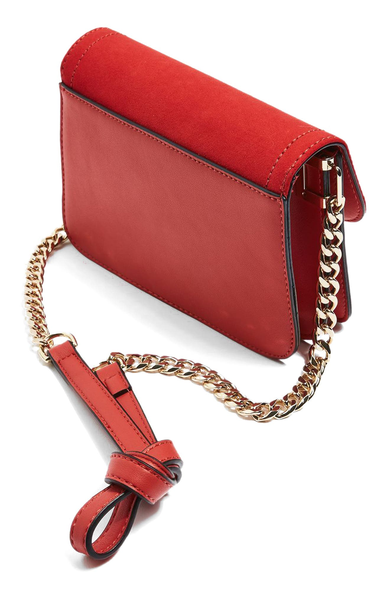 Alternate Image 4  - Topshop Remy Trophy Faux Leather Crossbody Bag