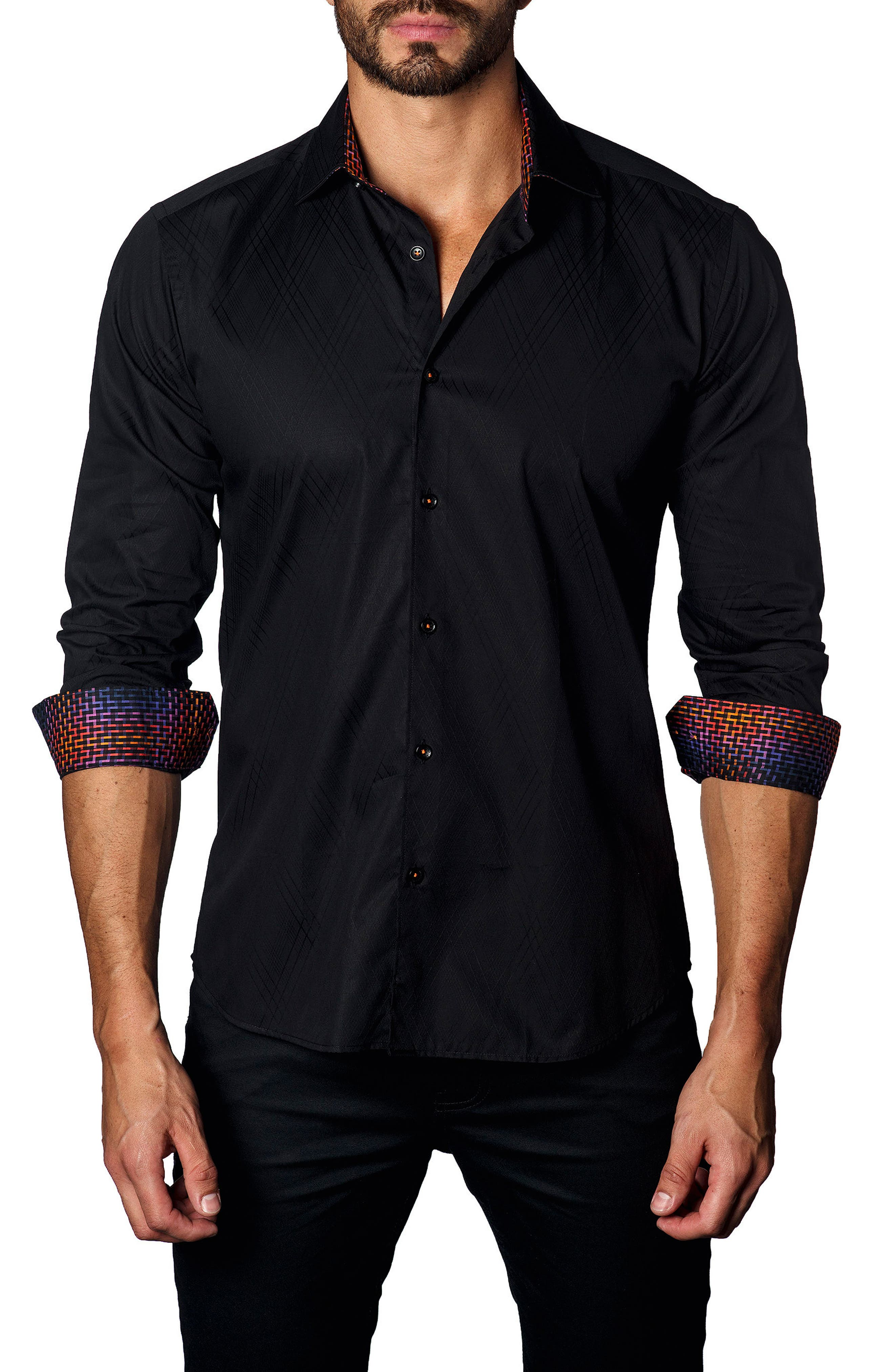 Jared Lang Trim Fit Diamond Jacquard Sport Shirt