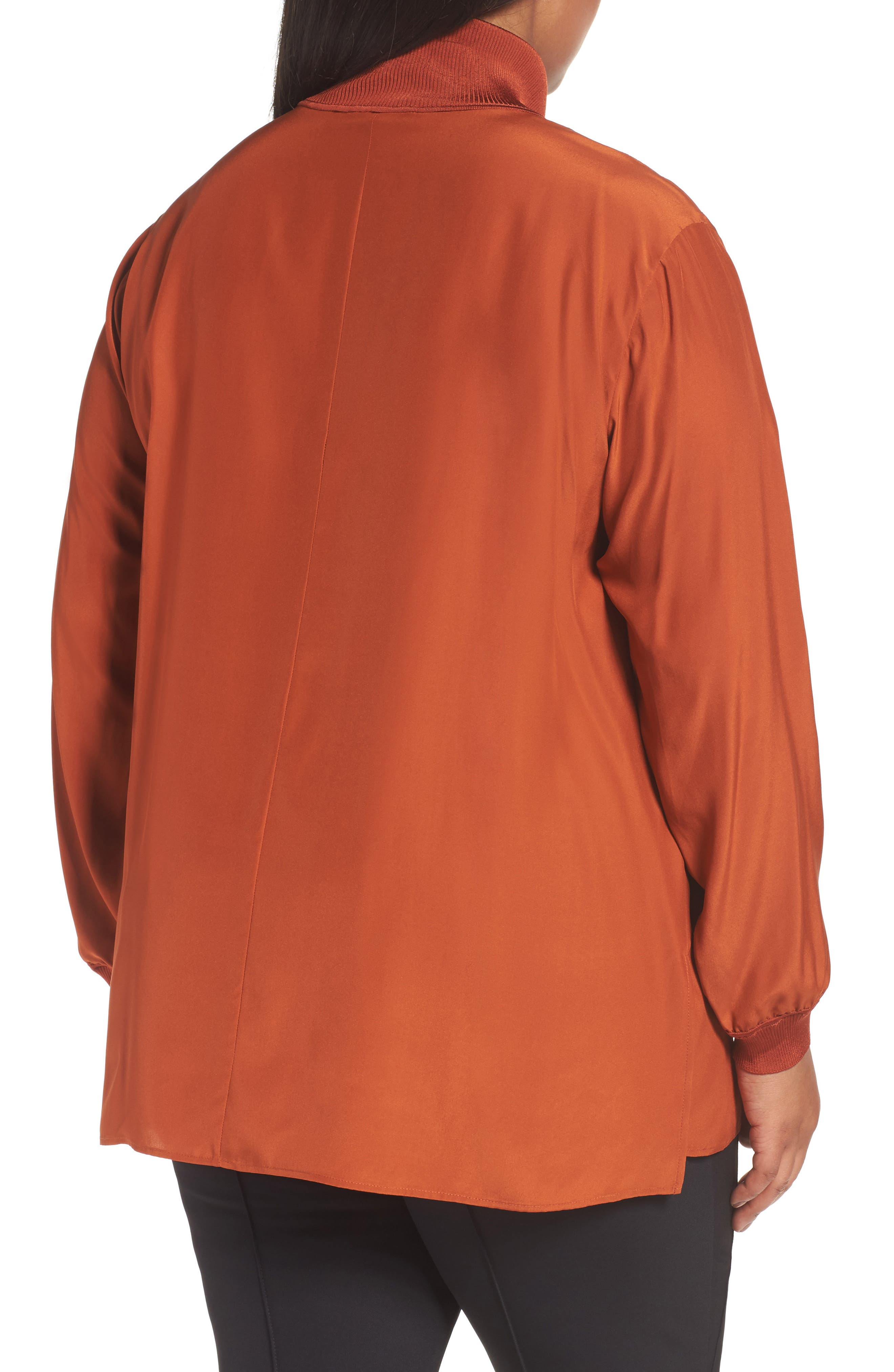 Lafayette Daryn V-Neck Zip Silk Blouse,                             Alternate thumbnail 2, color,                             Harvest