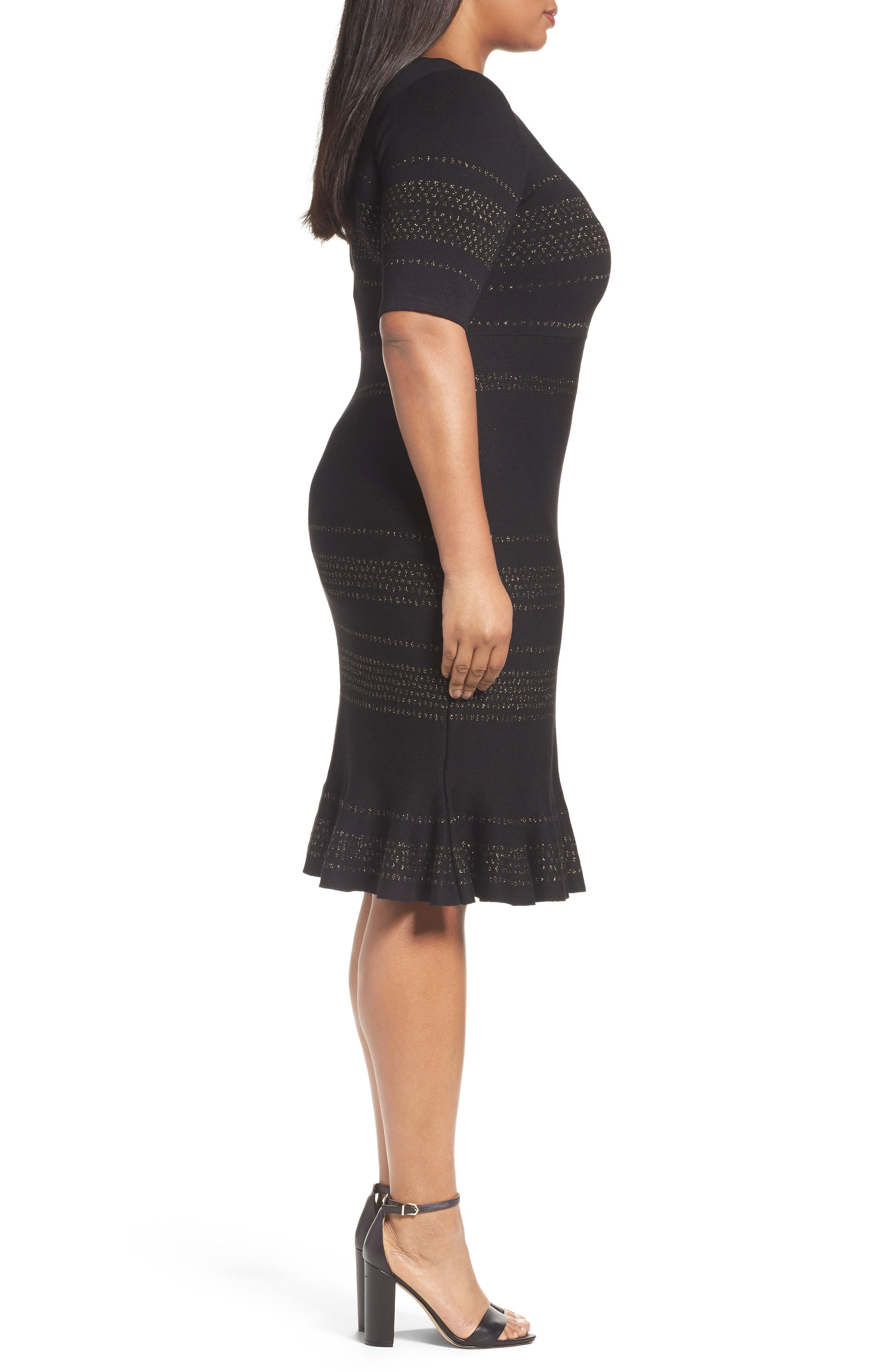 Alternate Image 3  - Taylor Dresses Metallic Knit Dress (Plus Size)