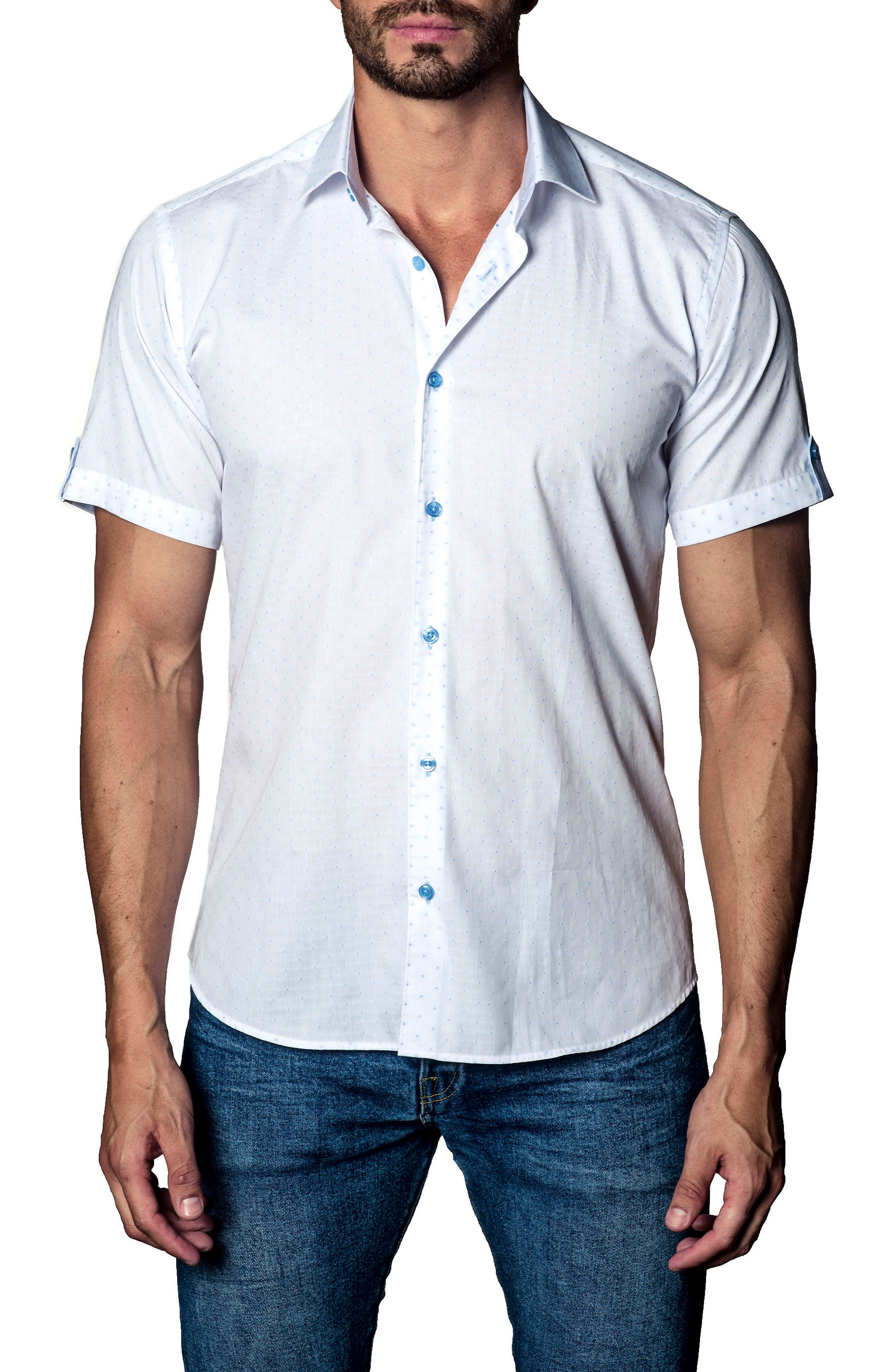 Print Sport Shirt,                             Main thumbnail 1, color,                             White Blue Print