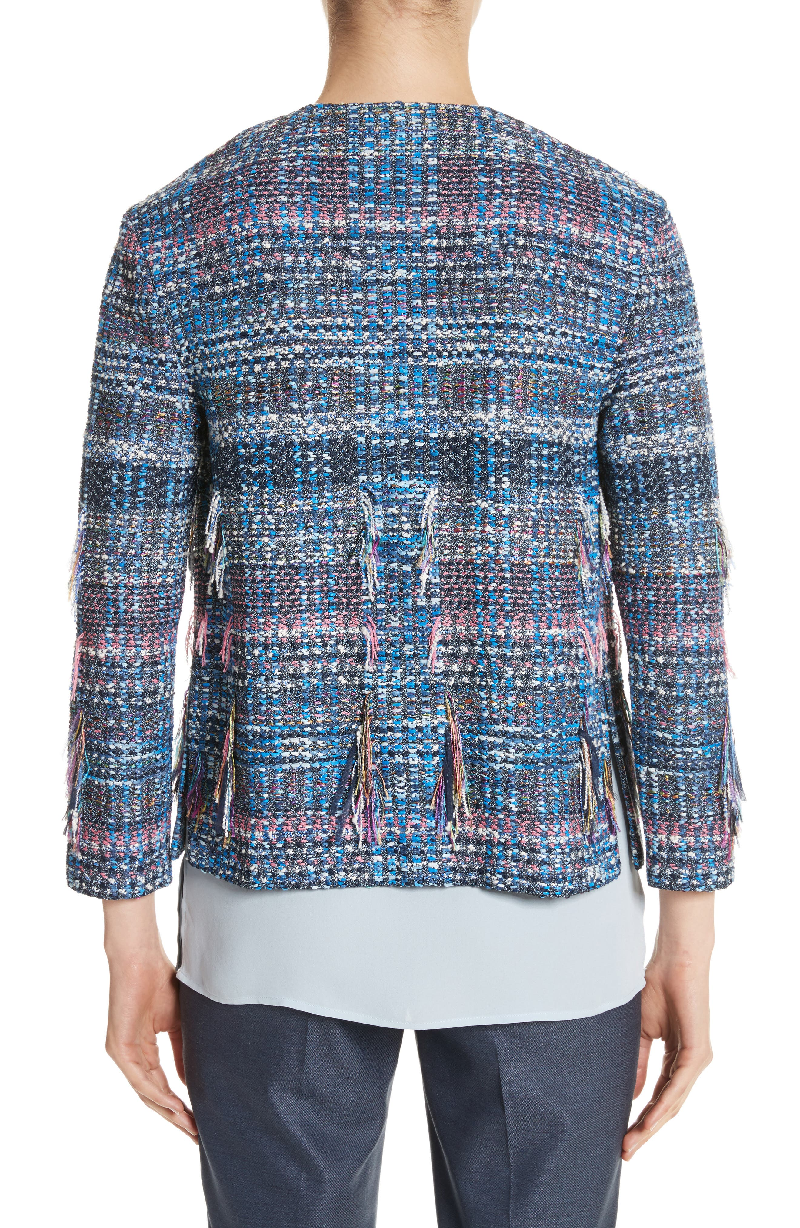 Fil Coupé Watercolor Placed Knit Jacket,                             Alternate thumbnail 2, color,                             Niagara Multi