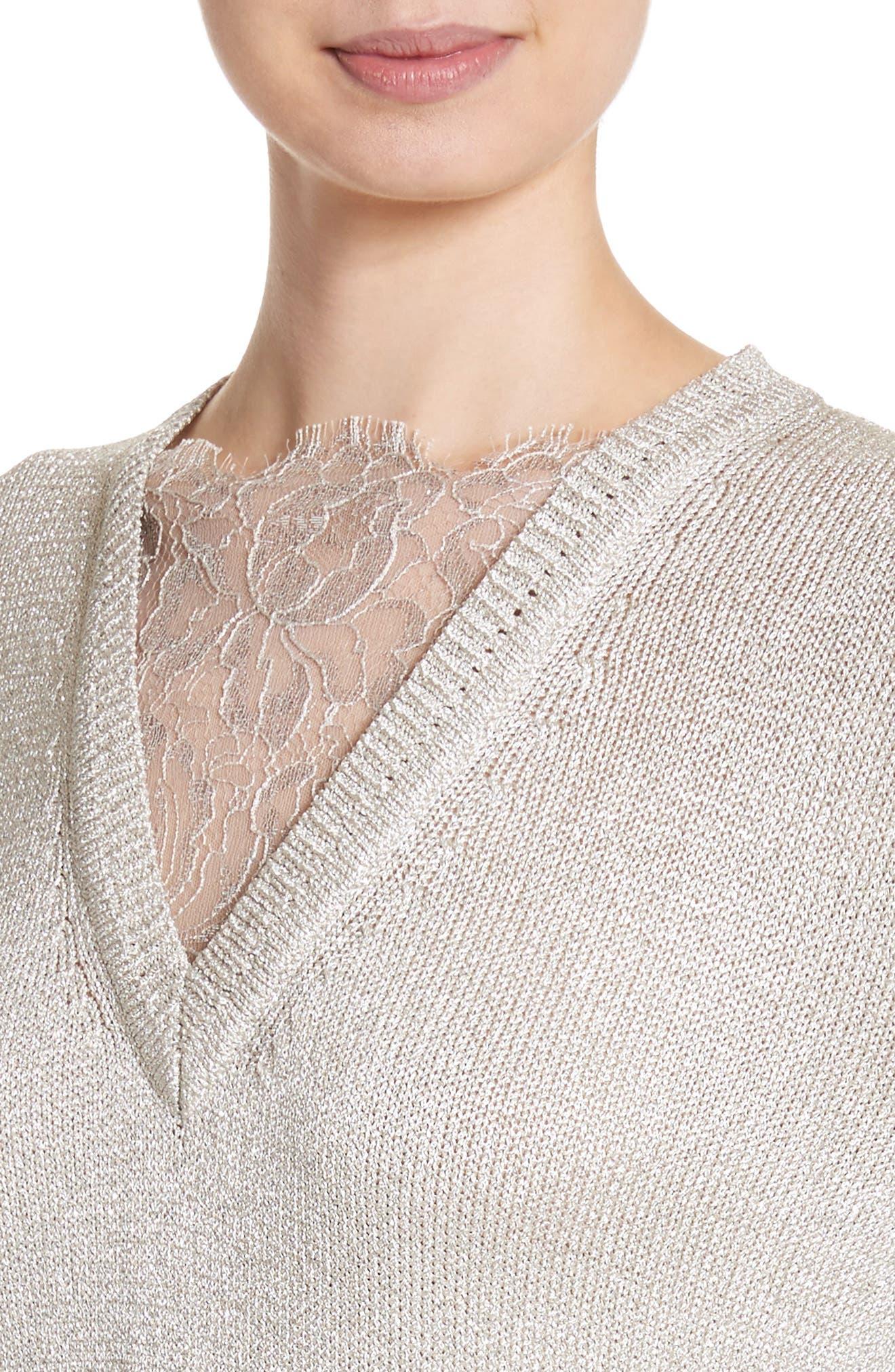 Alternate Image 4  - St John Collection Metallic Jersey Knit Sweater