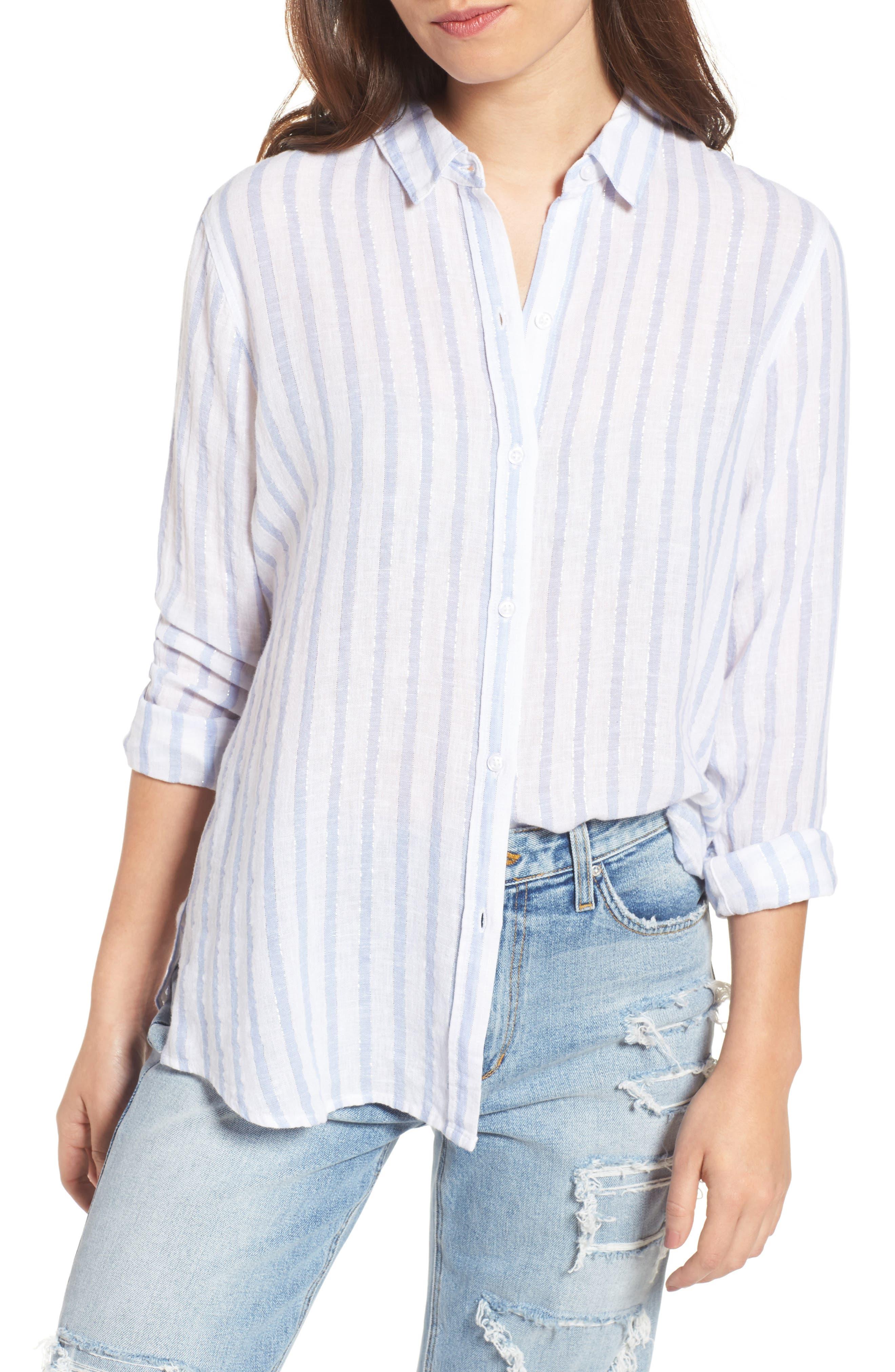 Sydney Vertical Shimmer Stripe Linen Blend Shirt,                         Main,                         color, Cornflower Stripe/ Silver