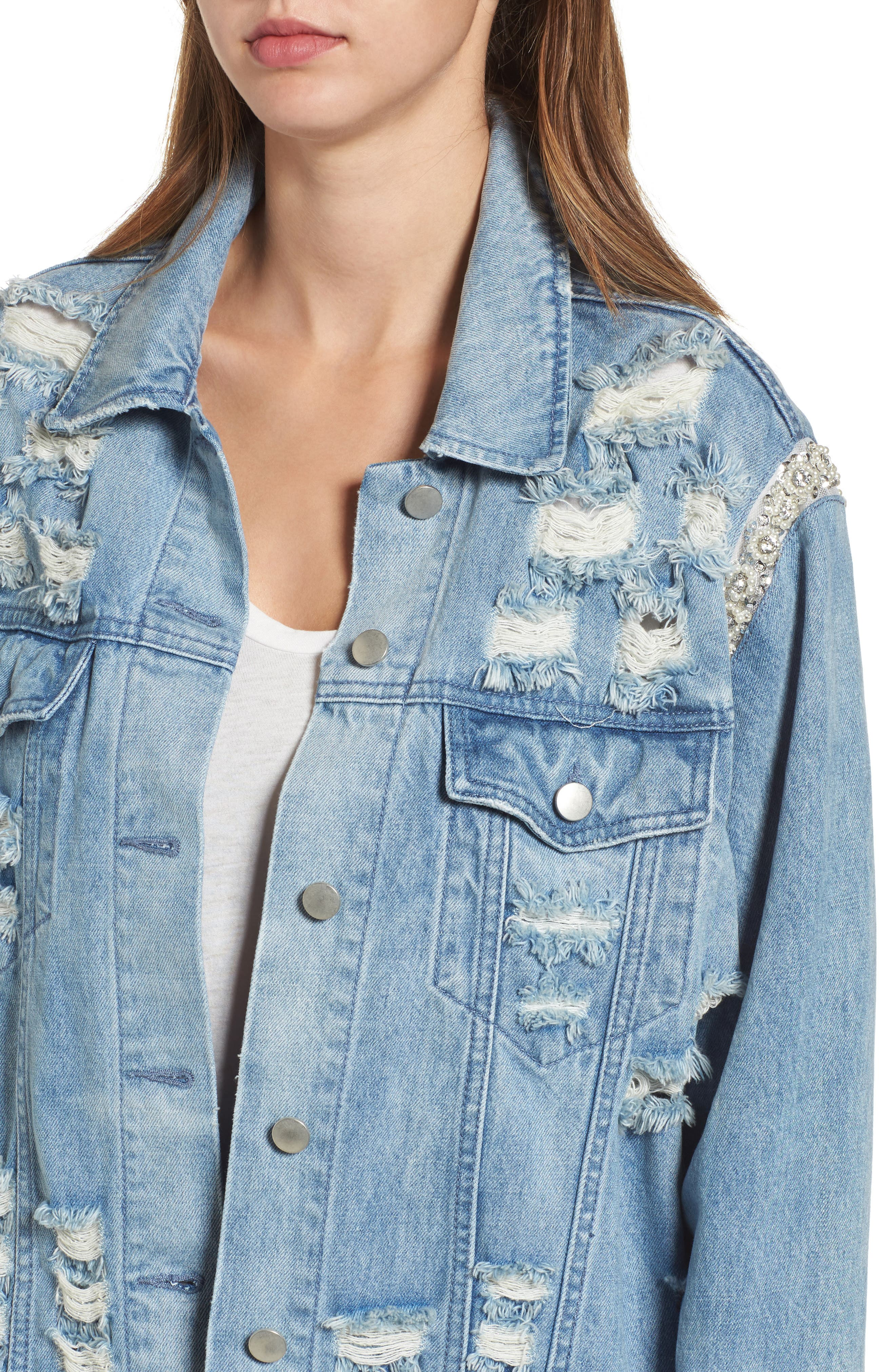 Embellished Ripped Denim Jacket,                             Alternate thumbnail 4, color,                             Blue W/ Pearls & Diamonds
