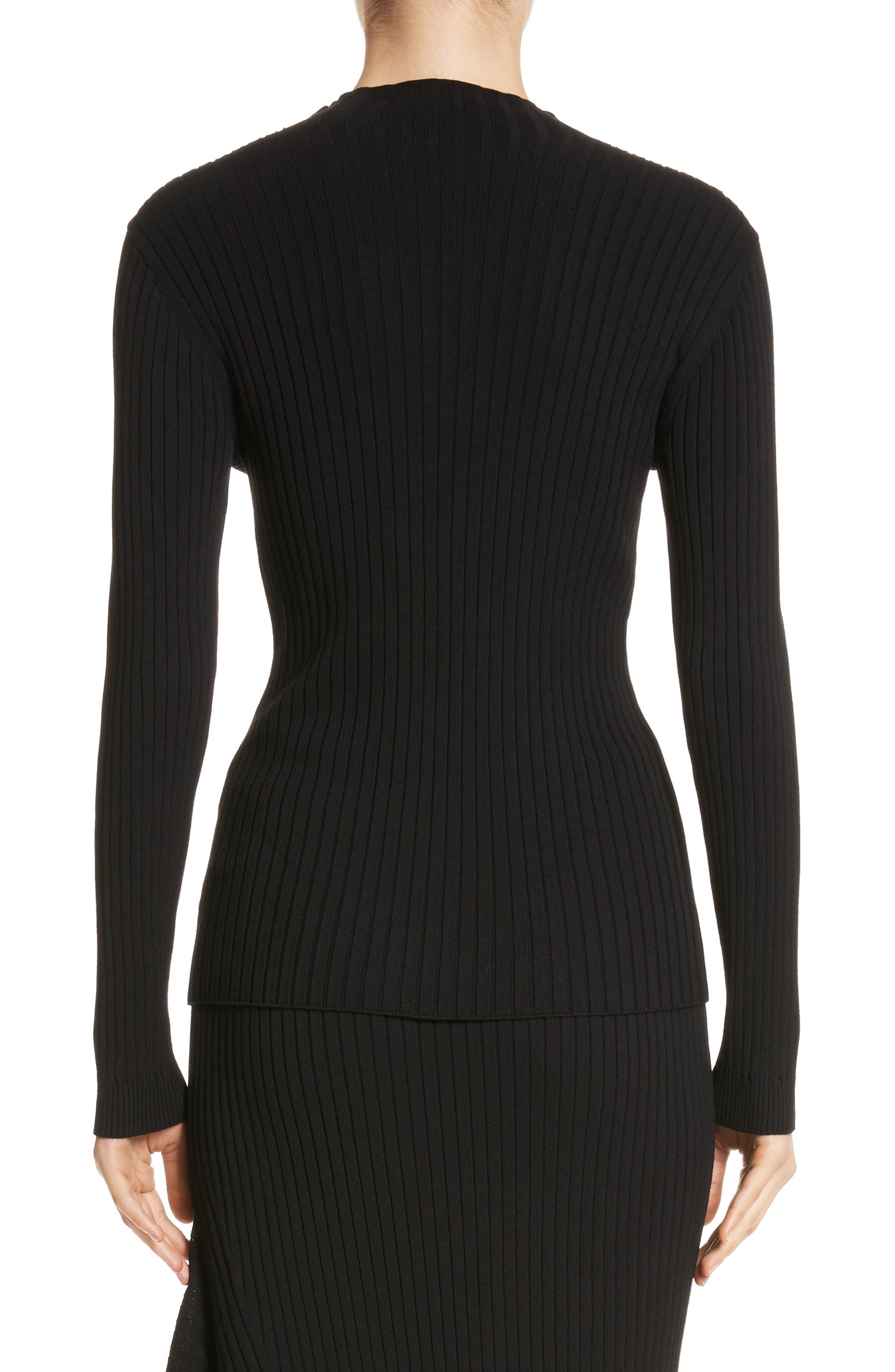 Flat Rib Knit Mock Neck Sweater,                             Alternate thumbnail 2, color,                             Caviar