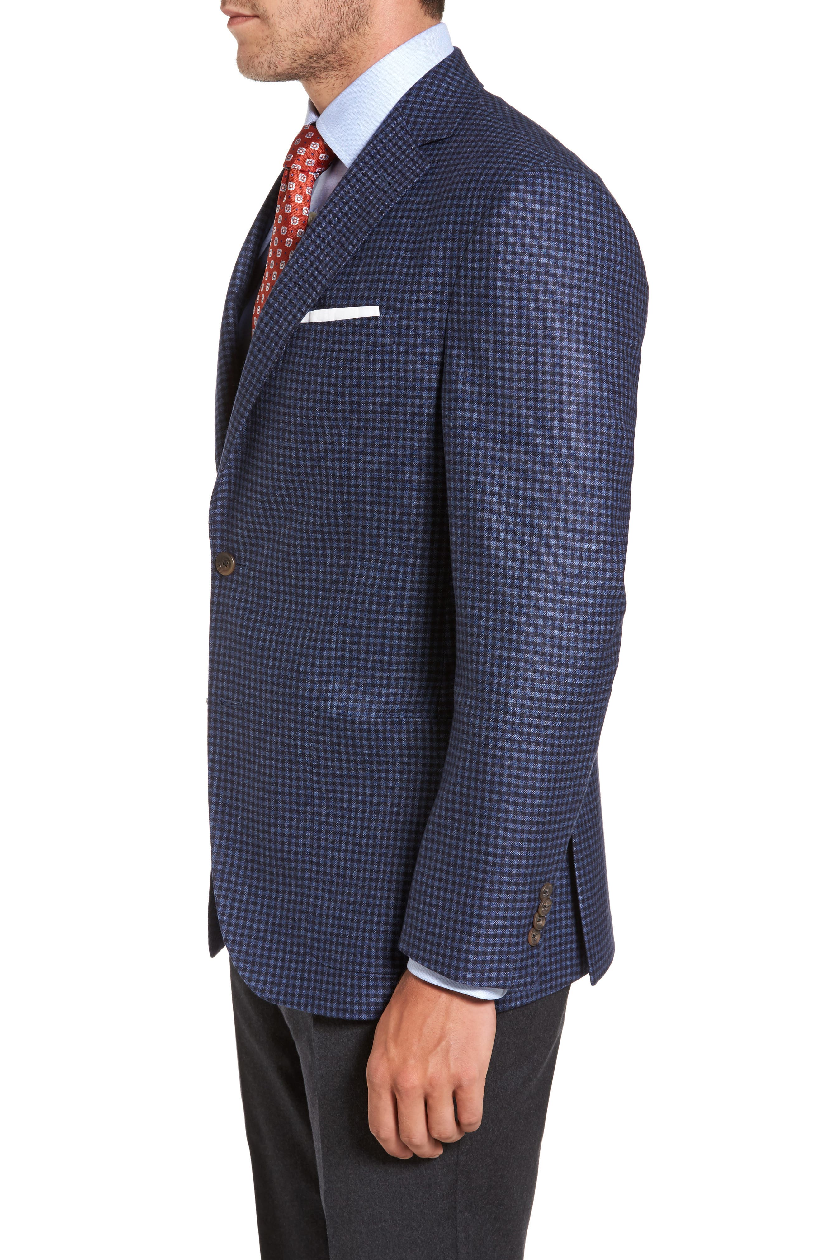 Alternate Image 3  - David Donahue Aiden Classic Fit Check Wool & Cashmere Sport Coat