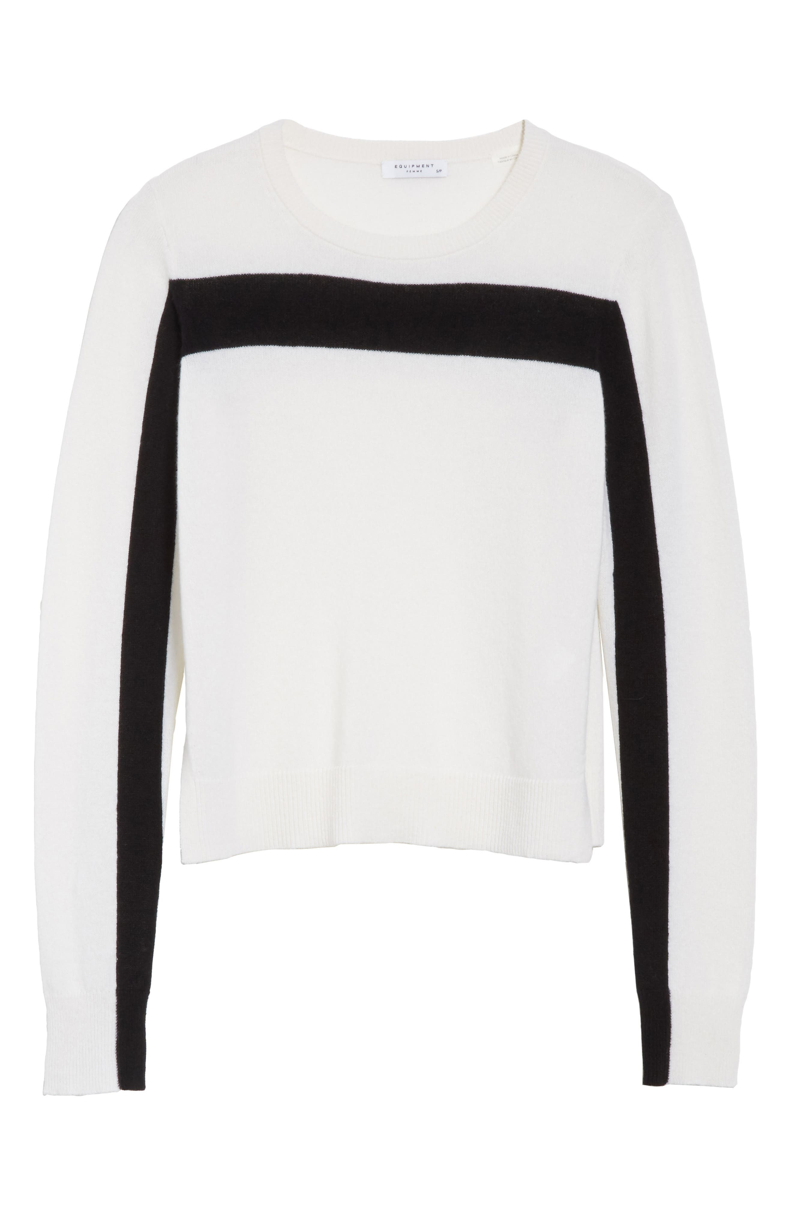Shirley Cashmere Sweater,                             Alternate thumbnail 6, color,                             Ivory/ Black