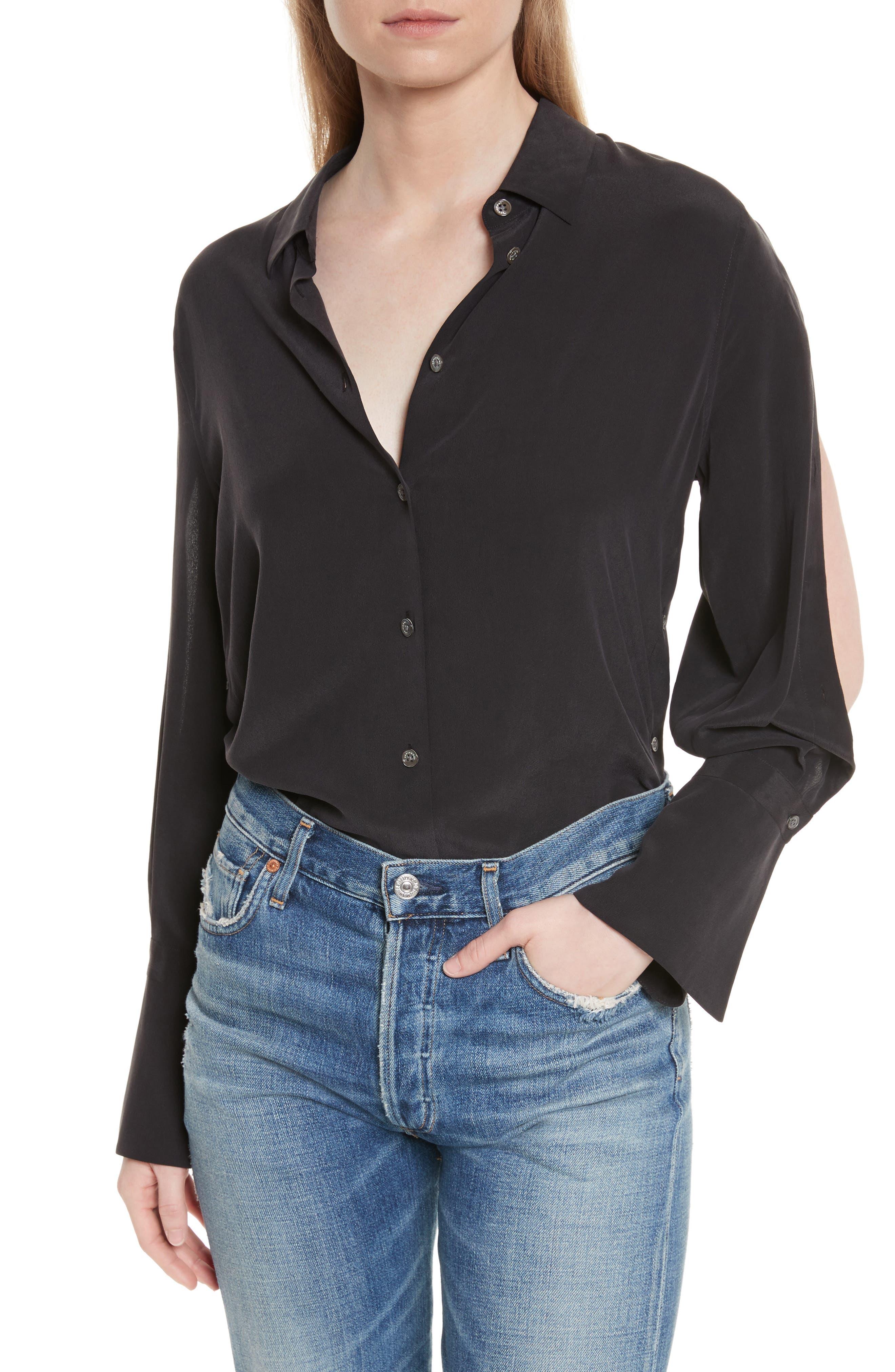 Equipment Rossi Button Detail Silk Shirt