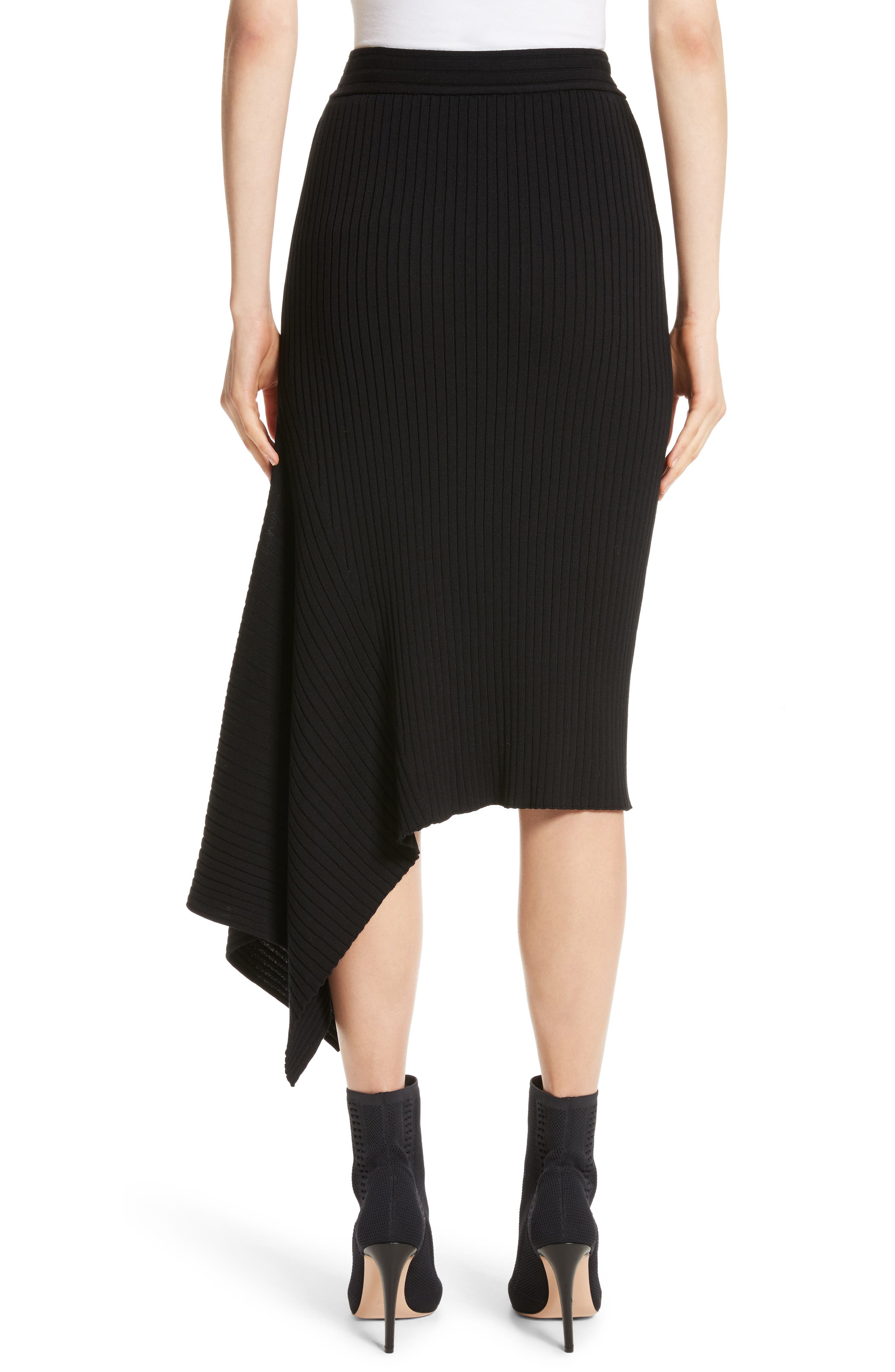 Flat Rib Knit Asymmetrical Skirt,                             Alternate thumbnail 2, color,                             Caviar