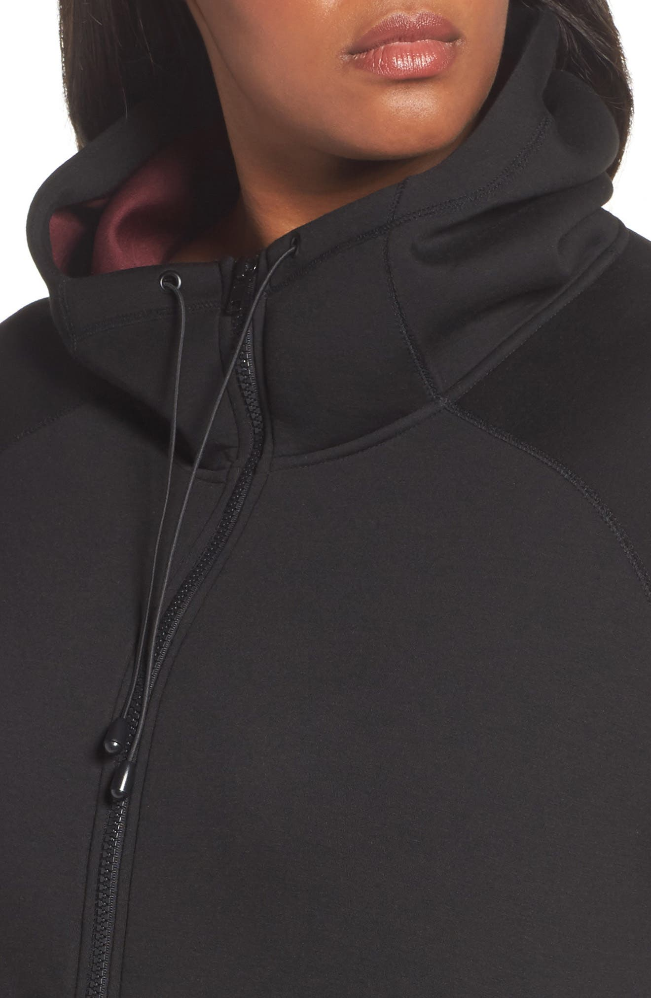 Mono Knit Drawstring Hooded Jacket,                             Alternate thumbnail 4, color,                             Black/ Burgundy