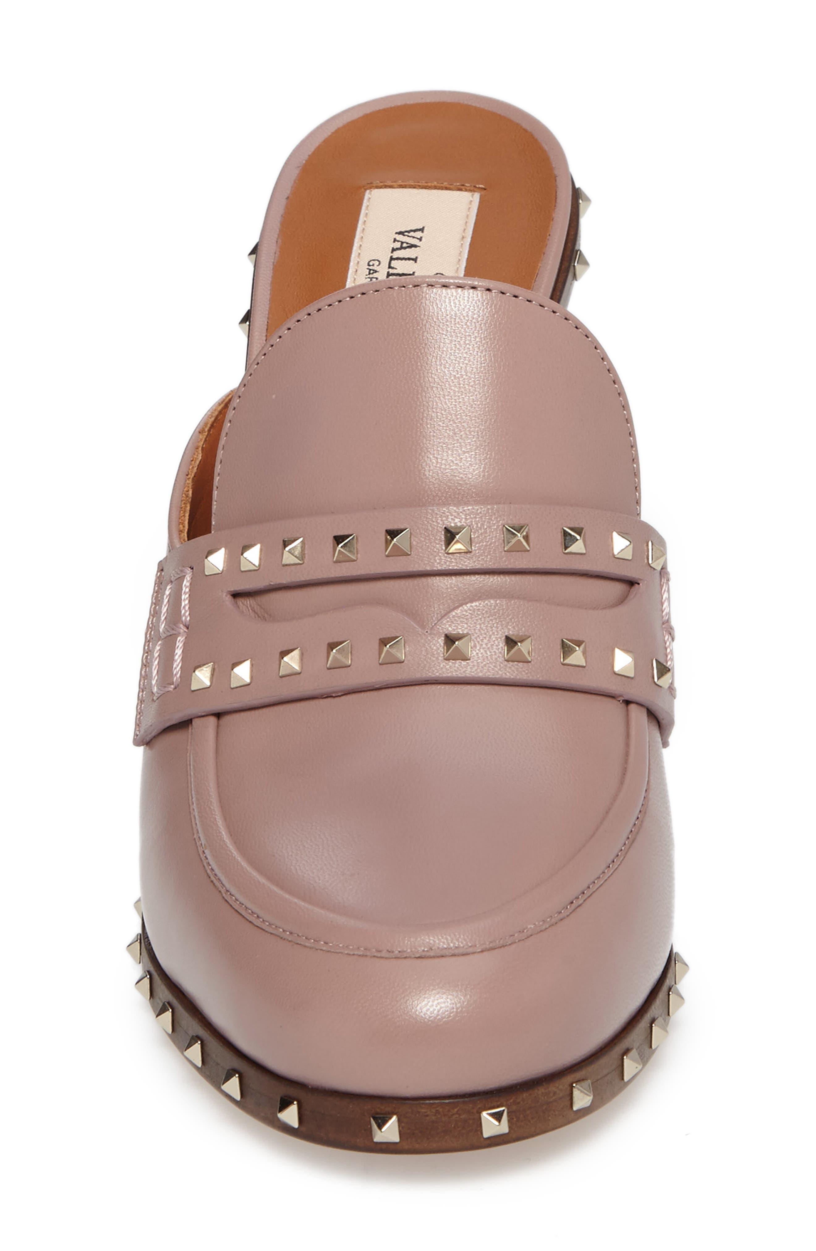 Rockstud Loafer Mule,                             Alternate thumbnail 4, color,                             Pink Leather