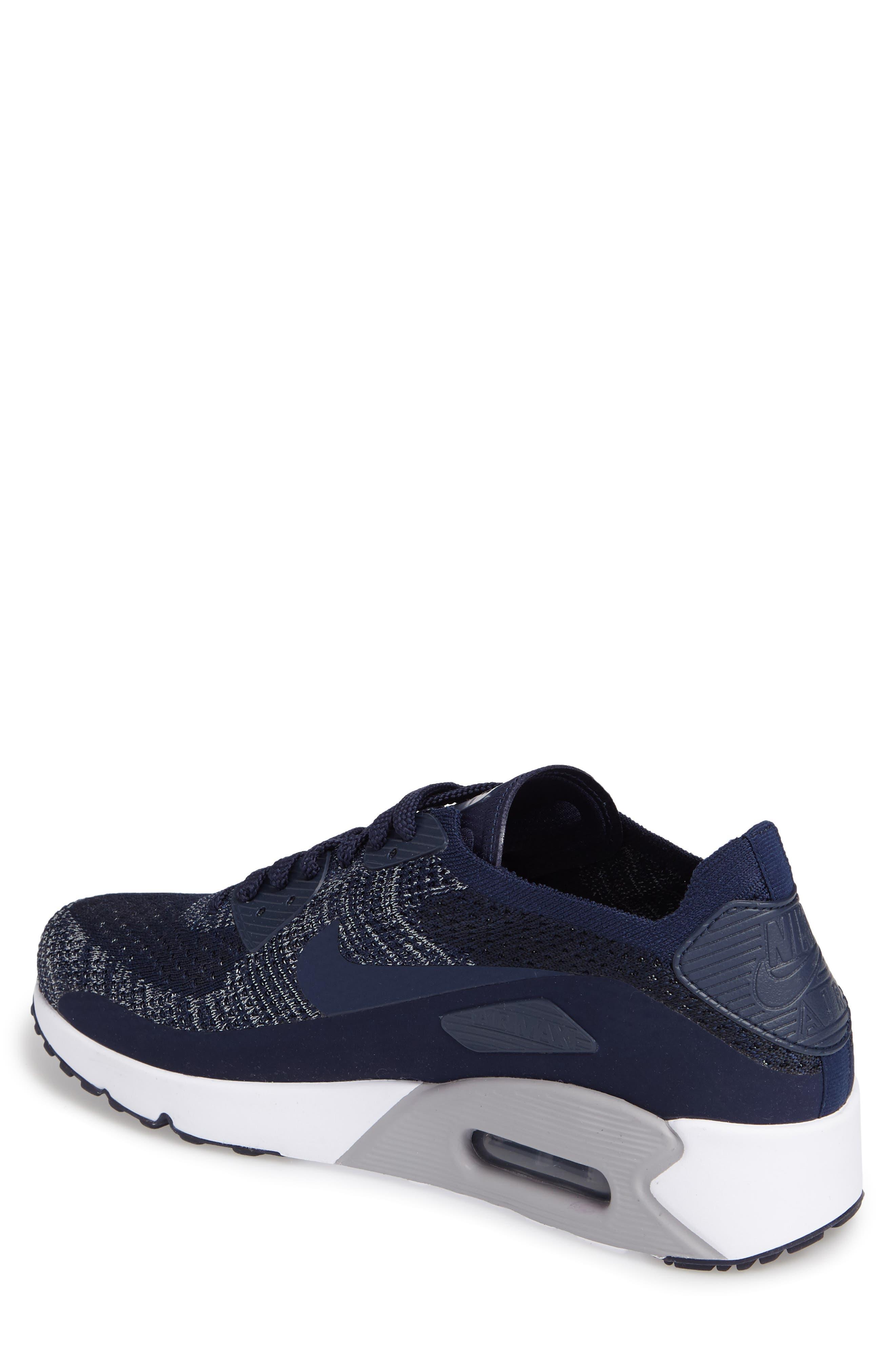 Air Max 90 Ultra 2.0 Flyknit Sneaker,                             Alternate thumbnail 2, color,                             Navy/ Navy/ Grey