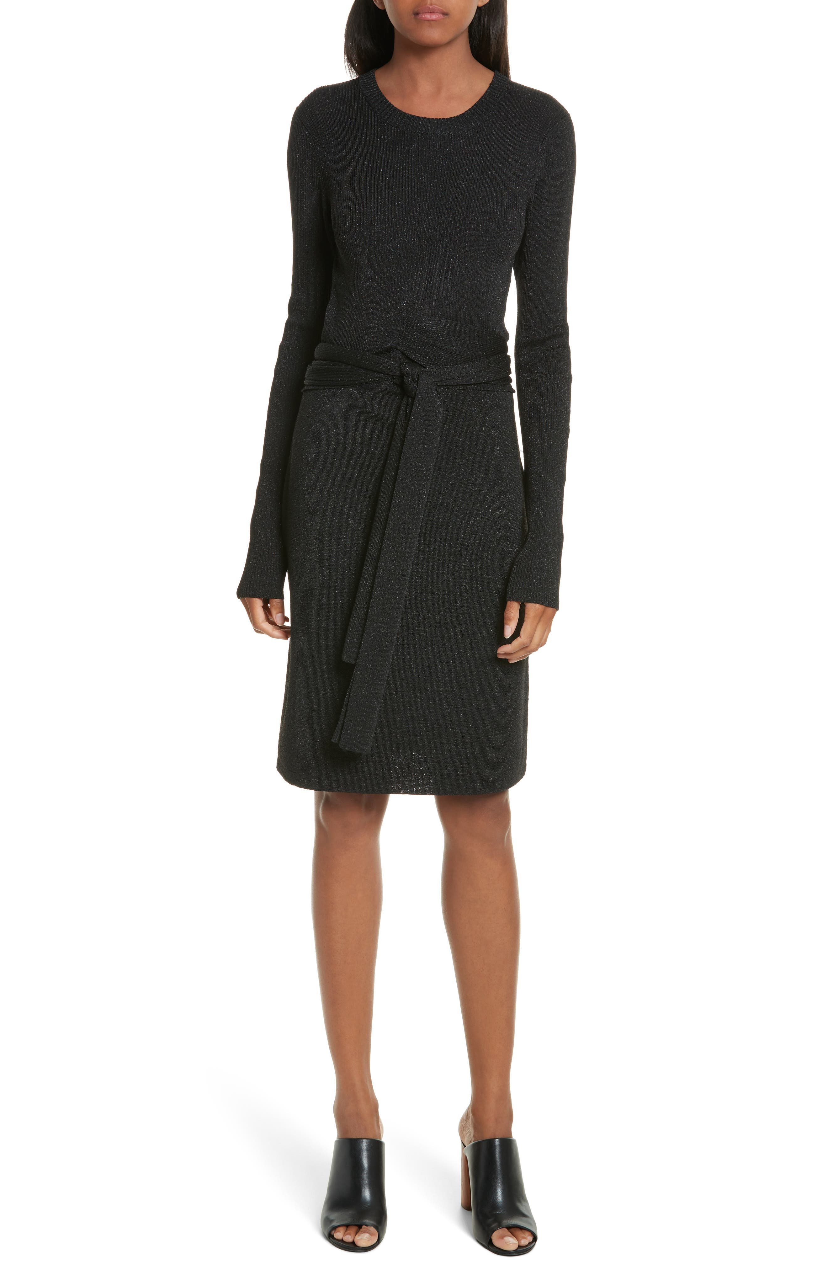 Metallic Tie Waist Dress,                             Main thumbnail 1, color,                             Black