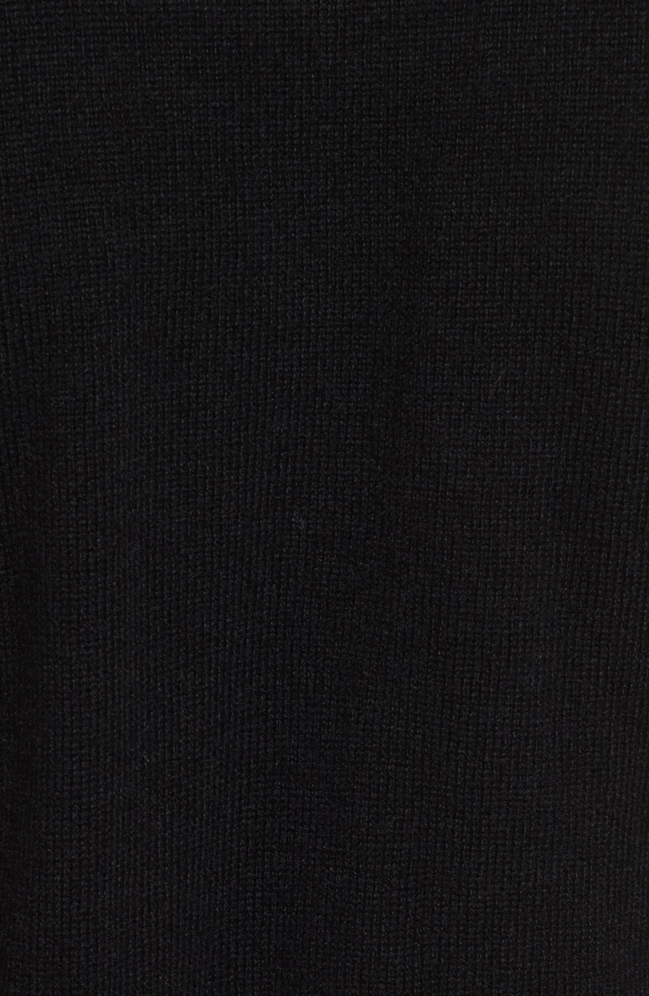 Olympy Tie Front Knit Tunic,                             Alternate thumbnail 5, color,                             Black