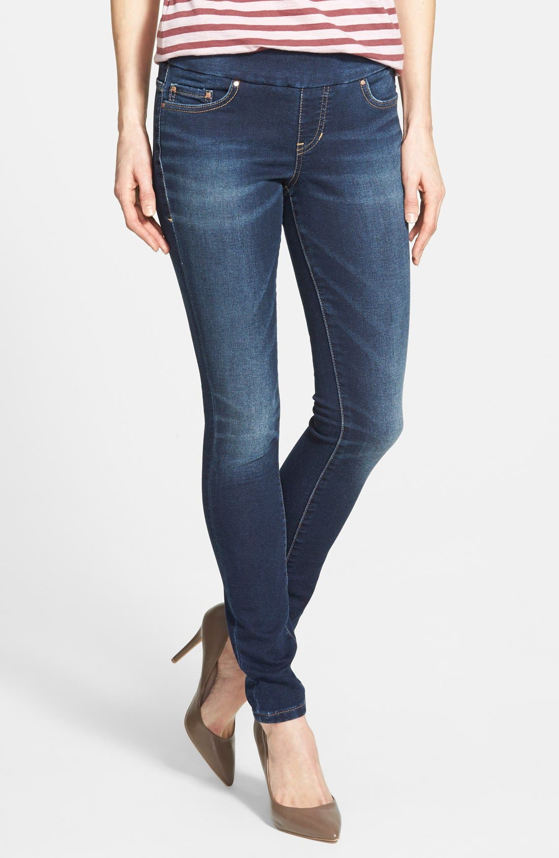'Nora' Pull-On Stretch Knit Skinny Jeans,                         Main,                         color, Blue Ridge