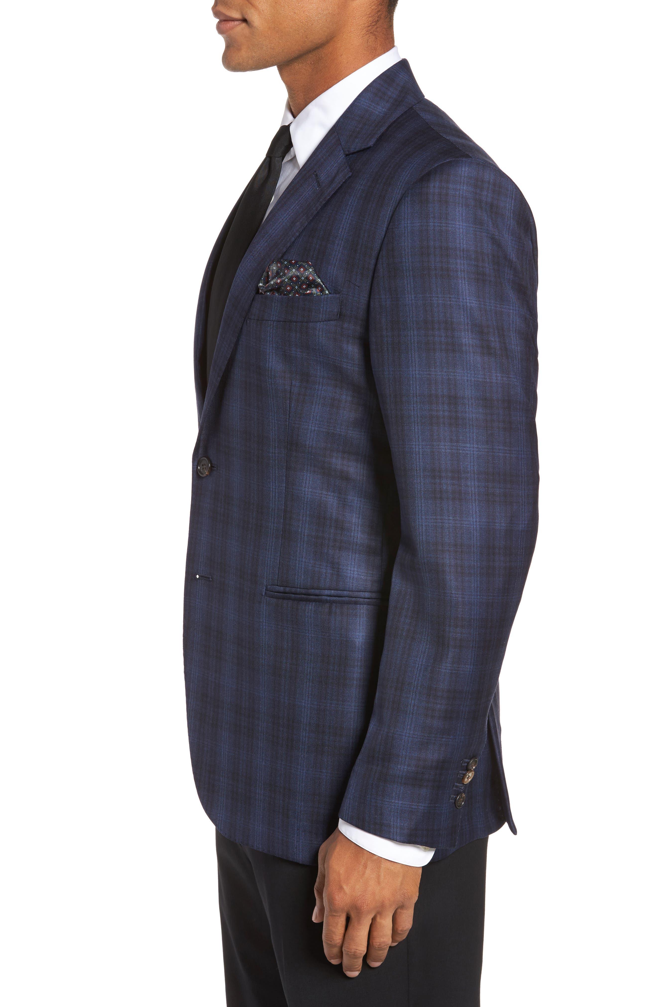 Midnatt Trim Fit Plaid Wool Sport Coat,                             Alternate thumbnail 3, color,                             Black Iris