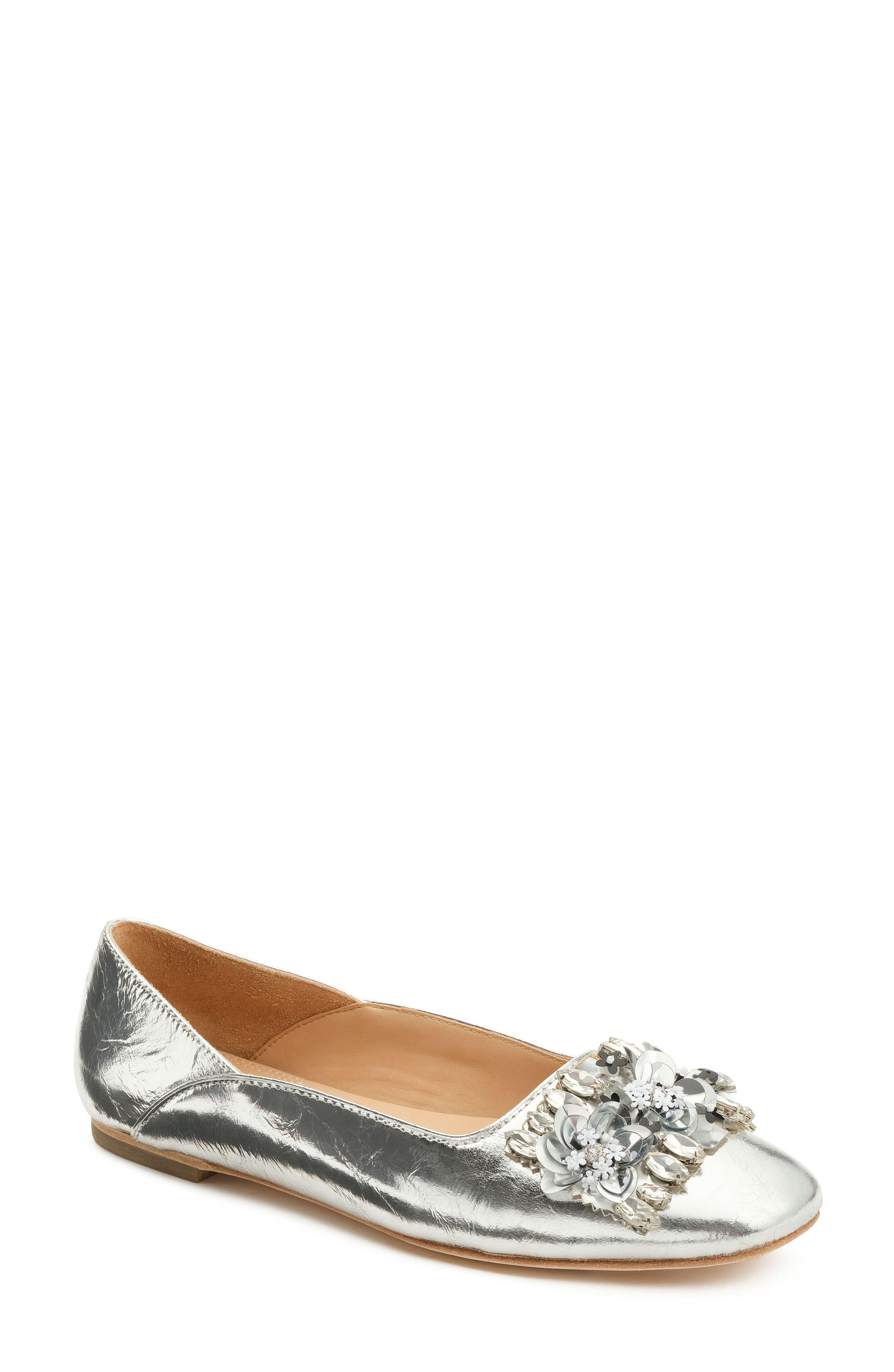 Aurey Embellished Ballet Flat,                             Main thumbnail 1, color,                             Silver Foil