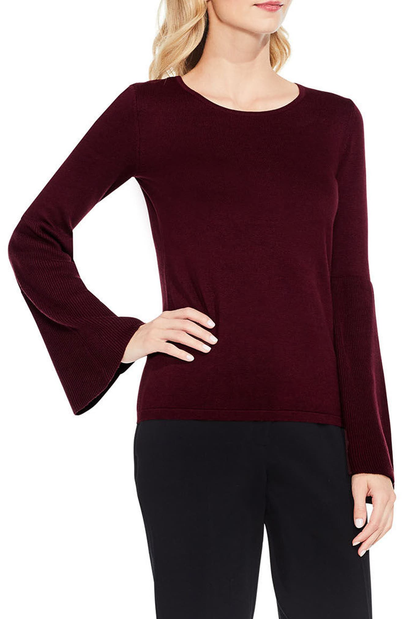 Vince Camuto Ribbed Bell Sleeve Sweater (Regular & Petite)