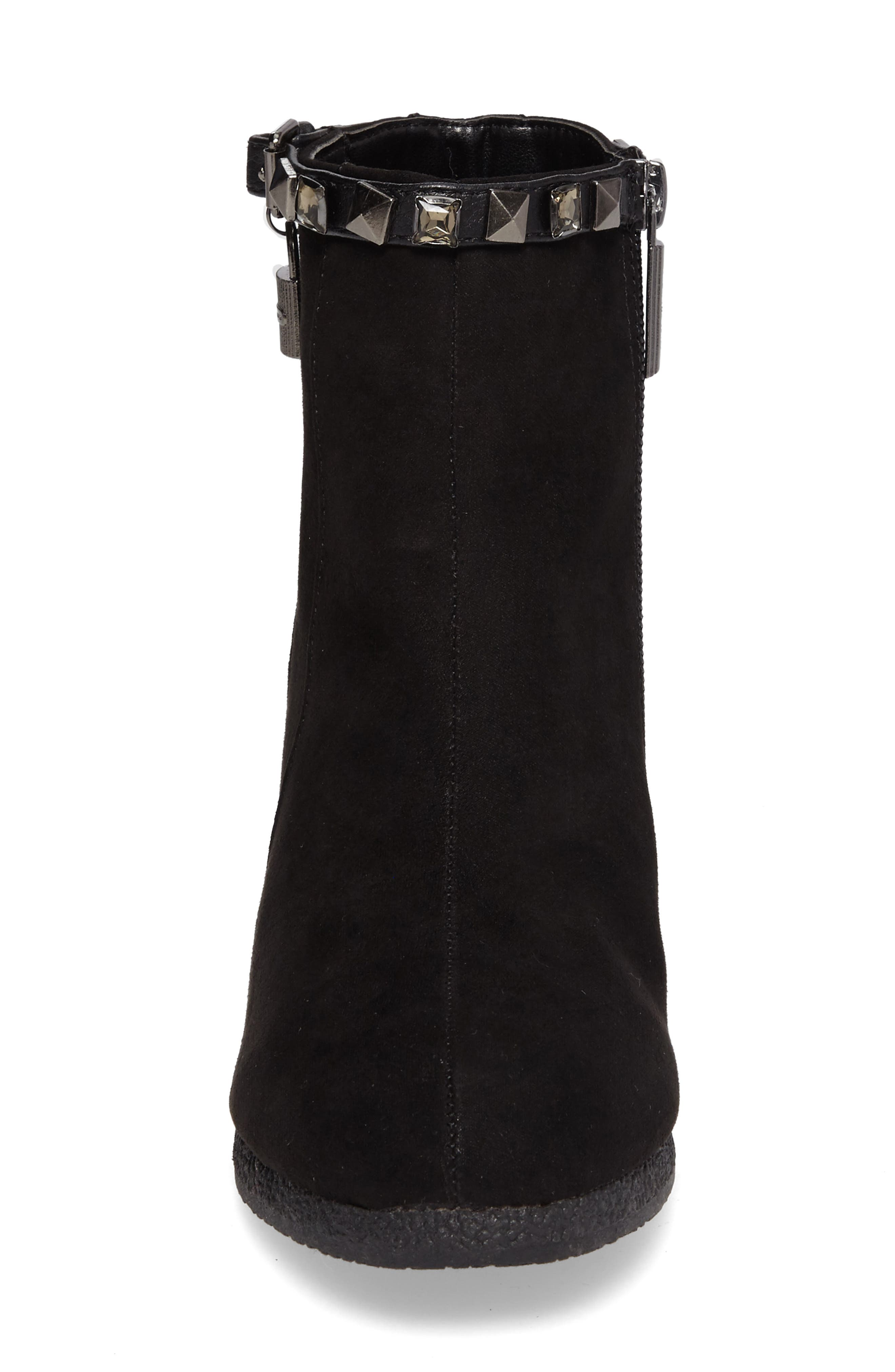 Cara Key Studded Wedge Bootie,                             Alternate thumbnail 4, color,                             Black