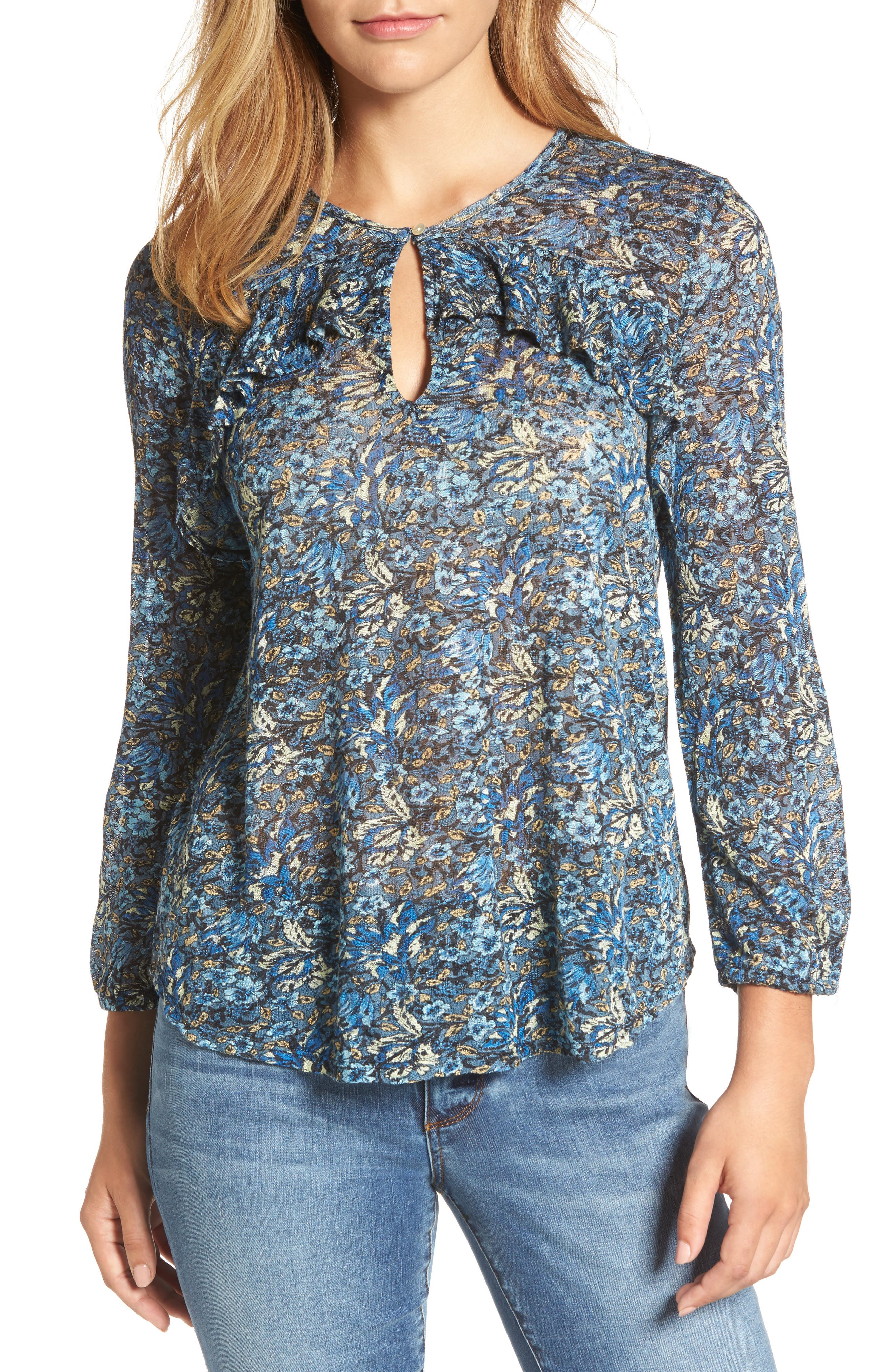 Alternate Image 1 Selected - Lucky Brand Floral Ruffle Top