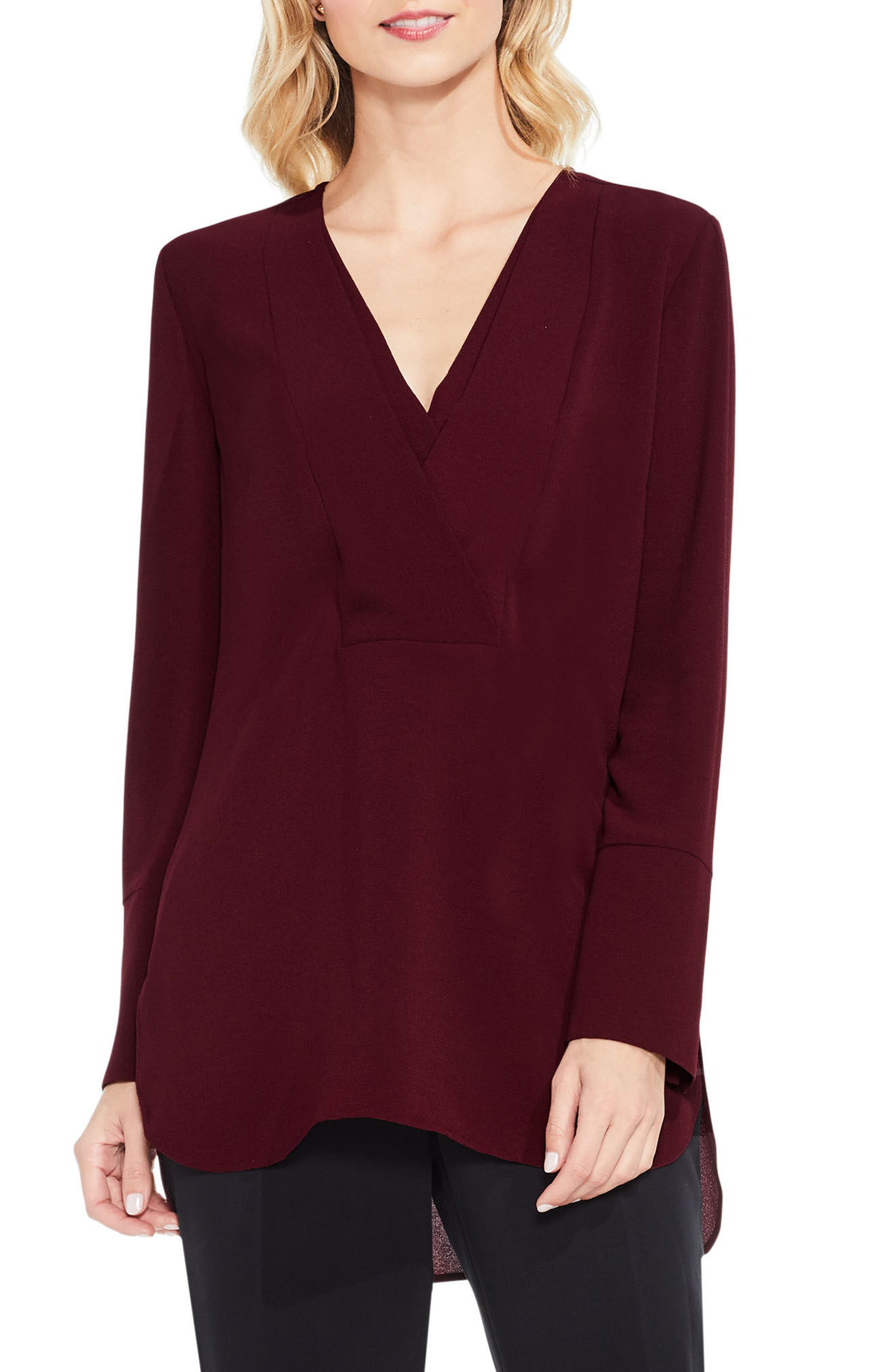 Vince Camuto Double V-Neck Placket Blouse